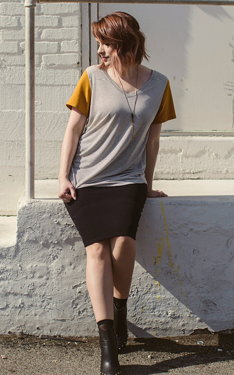 LuLaRoe-Christy-T-shirt-V-neck-black-and-white-stripes-yellow-sleeve.jpg