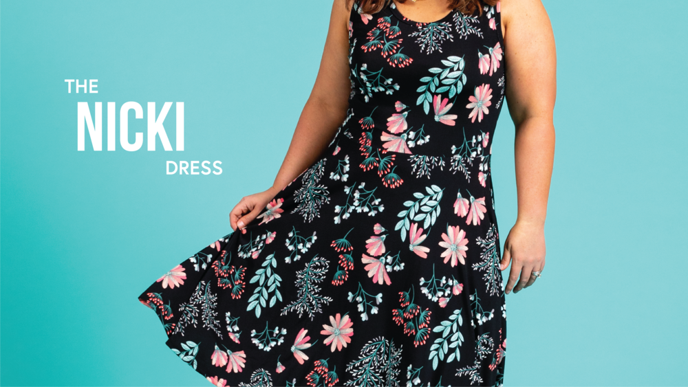 390c855e9 As a sleeveless A-line dress, with a scoop neckline and breathable design,  the Nicki is sure to be your summer's go-to outfit. Her practical, yet  playful ...