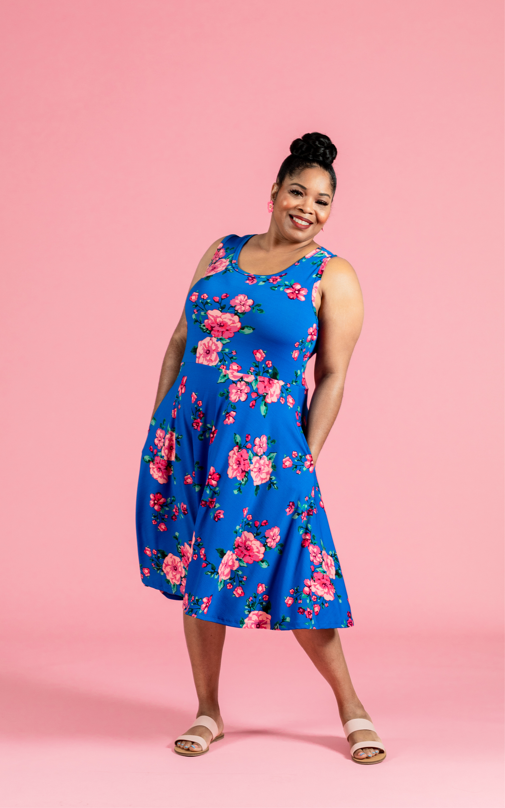 LULAROE-SLEEVELESS-DRESS-NICKI-A LINE SKIRT-BLUE FLORAL.jpg