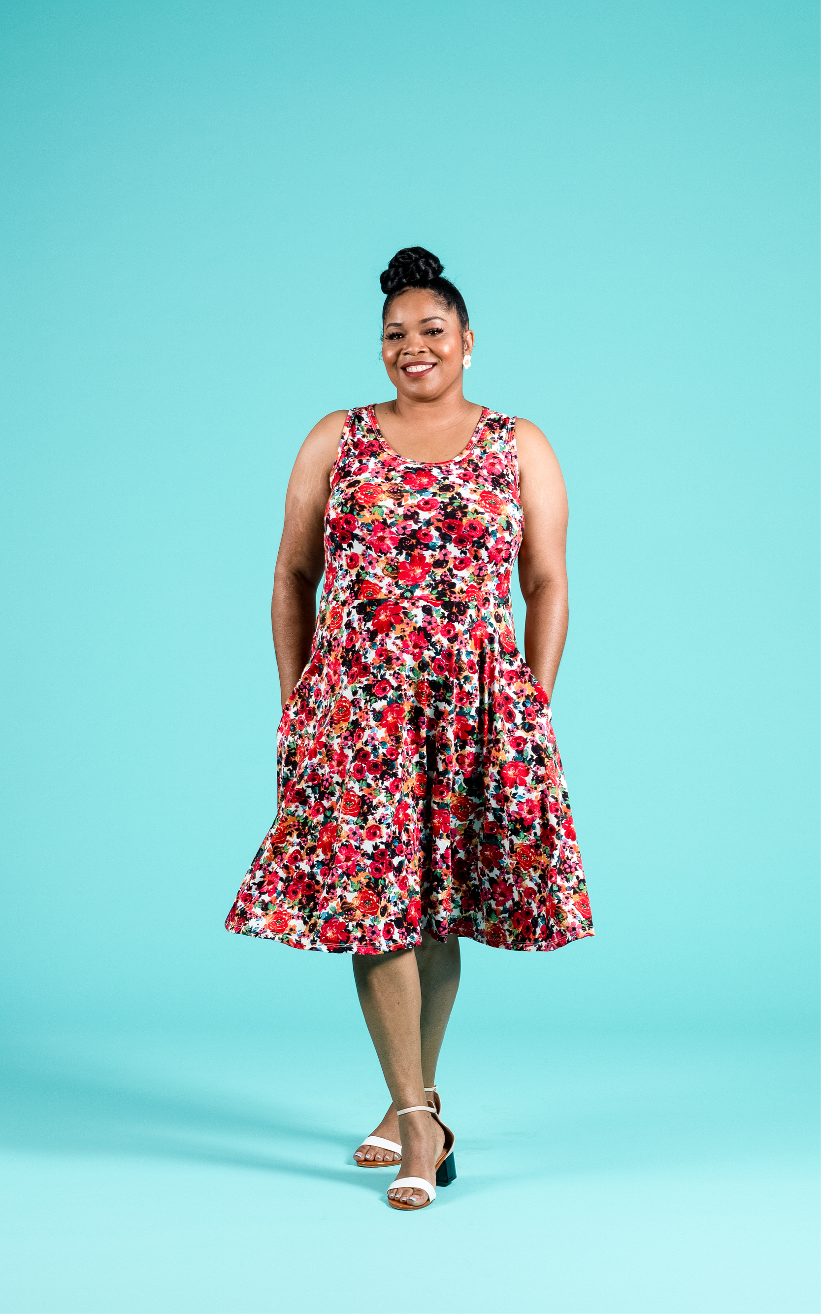 LULAROE-SLEEVELESS-DRESS-NICKI-A LINE SKIRT-RED FLORAL.jpg