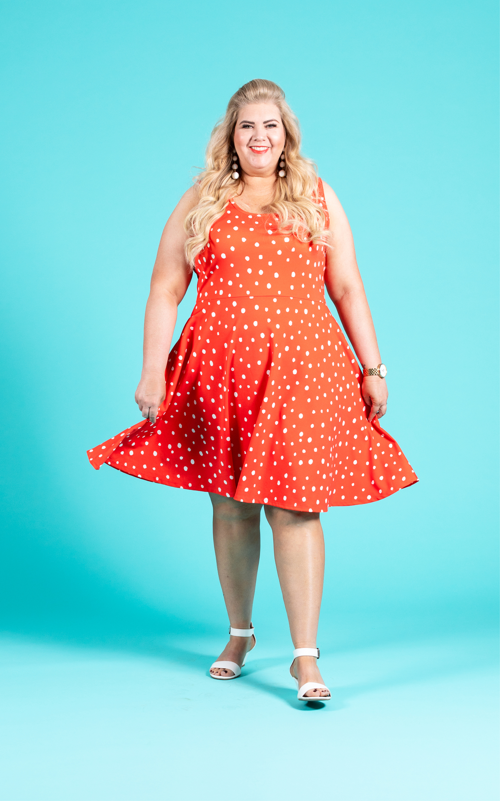 LULAROE-SLEEVELESS-DRESS-NICKI-A LINE SKIRT-RED POLKA DOTS.jpg