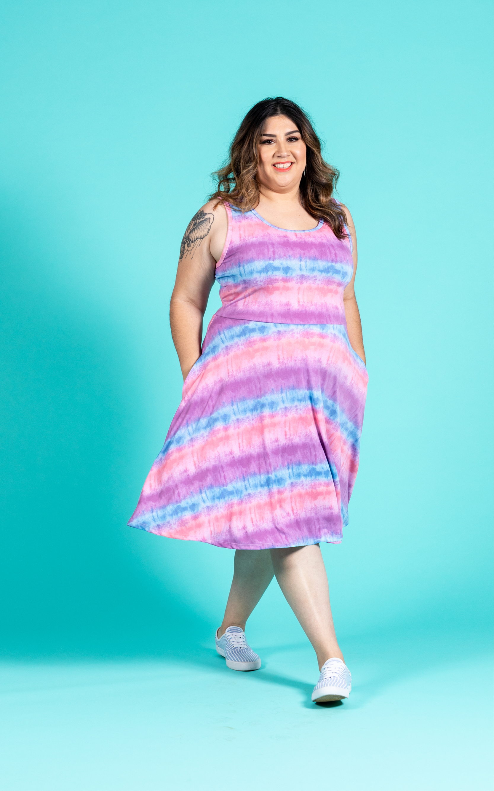 LULAROE-SLEEVELESS-DRESS-NICKI-A LINE SKIRT-SUNSET-STRIPES.jpg