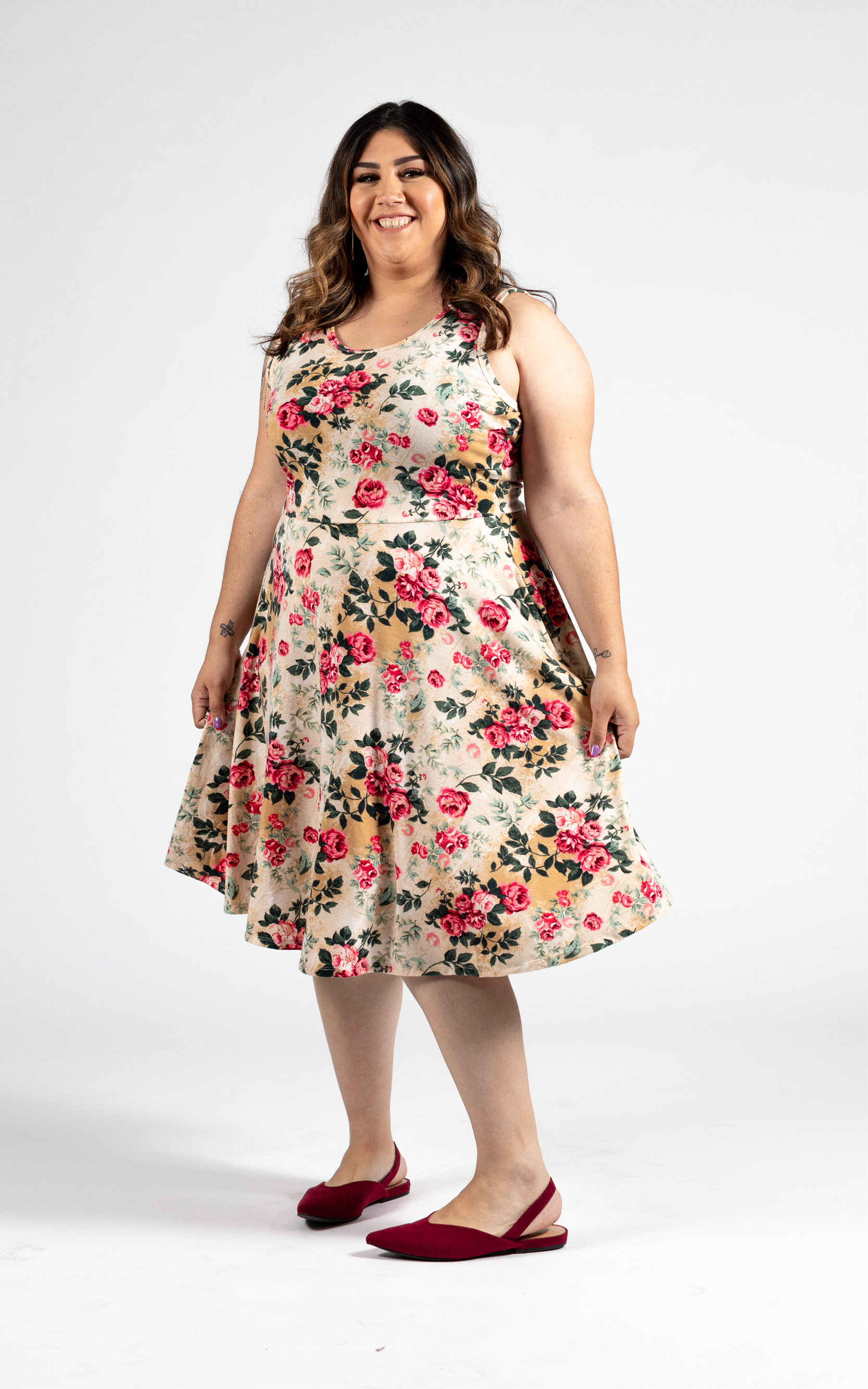 LULAROE-SLEEVELESS-DRESS-NICKI-A LINE SKIRT-WHITE FLORAL.jpg
