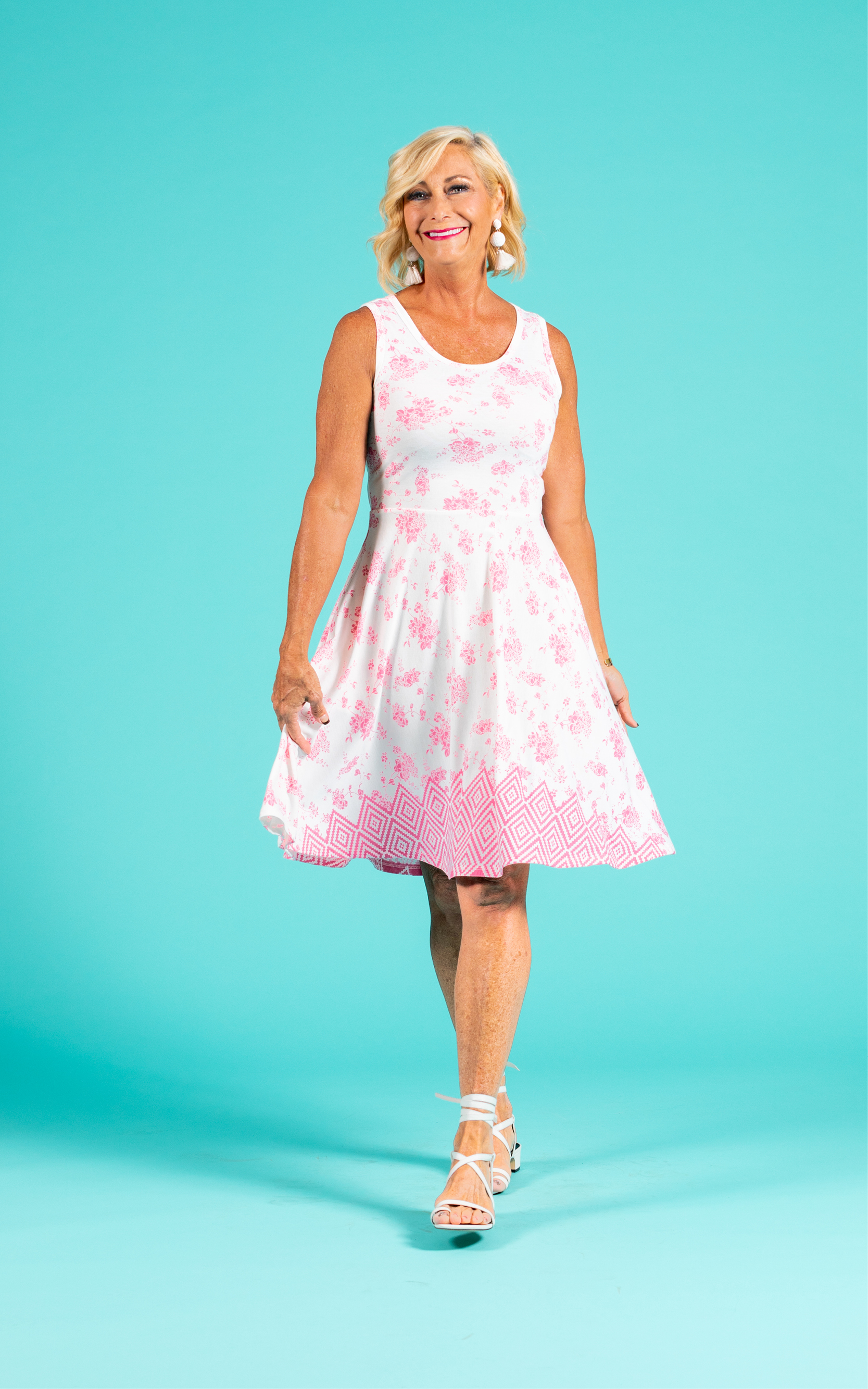 LULAROE-SLEEVELESS-DRESS-NICKI-A LINE SKIRT-WHITE PINK PATTERN.jpg