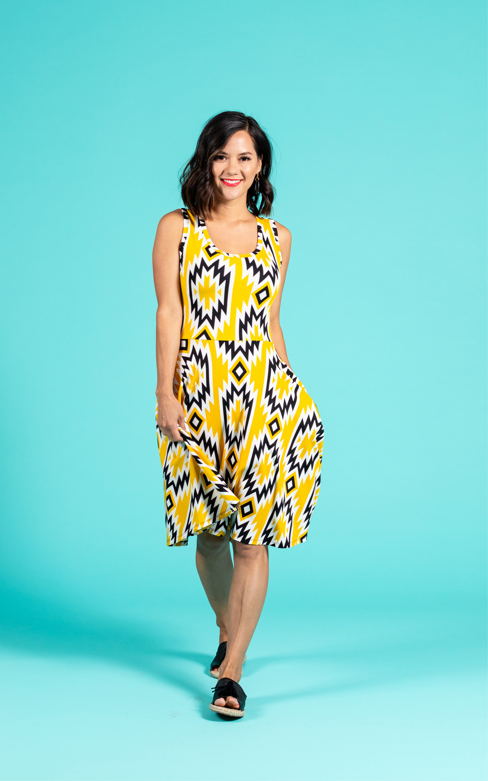 LULAROE-SLEEVELESS-DRESS-NICKI-A LINE SKIRT-YELLOW GEOMETRIC.jpg