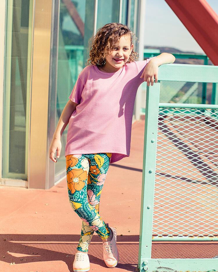 Pink Feathers LuLaRoe Kids Leggings L//XL Large XLarge Blue White Polka Dots