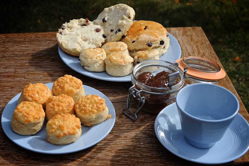"""Scones - Our fruit scones are not-too-sweet and full of dried fruit. The cheese scones are made with mature cheddar cheese and cayenne pear for lots of taste.Available as large (4""""), medium (3"""") and mini (1.5"""") round scones."""
