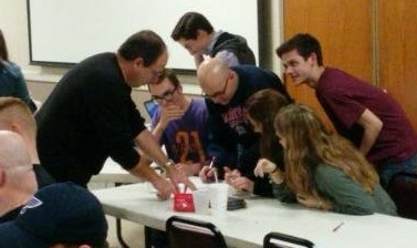 Judges hard at work during last year's Trivia!