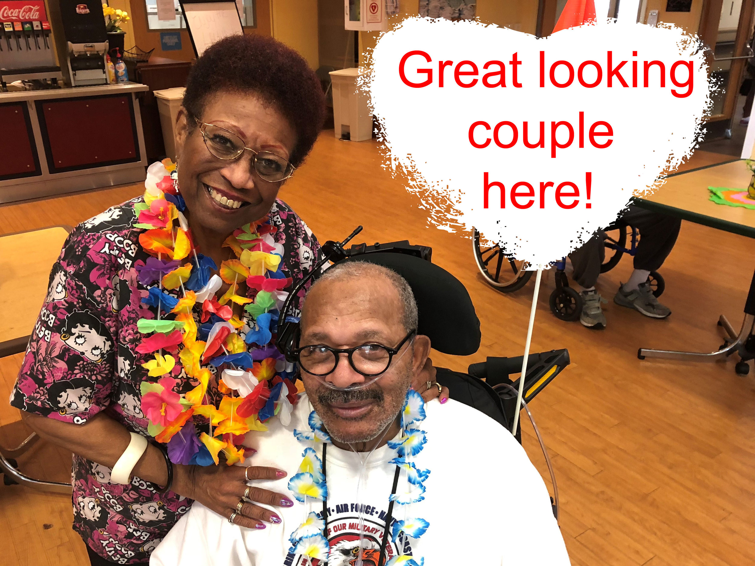 Sandy and Curtis today at MVH 2018 luau.