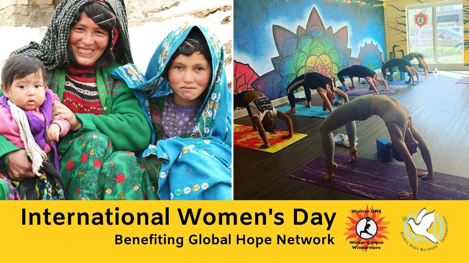 Yoga to Benefit International Women's Day - Saturday, March 9, 20195-5:45 pmWarrior ONE and Global Hope Network International are partnering to offer you a FREE yoga class at 5 p.m. Saturday, March 9 in honor of International Women's Day!Our theme this year is