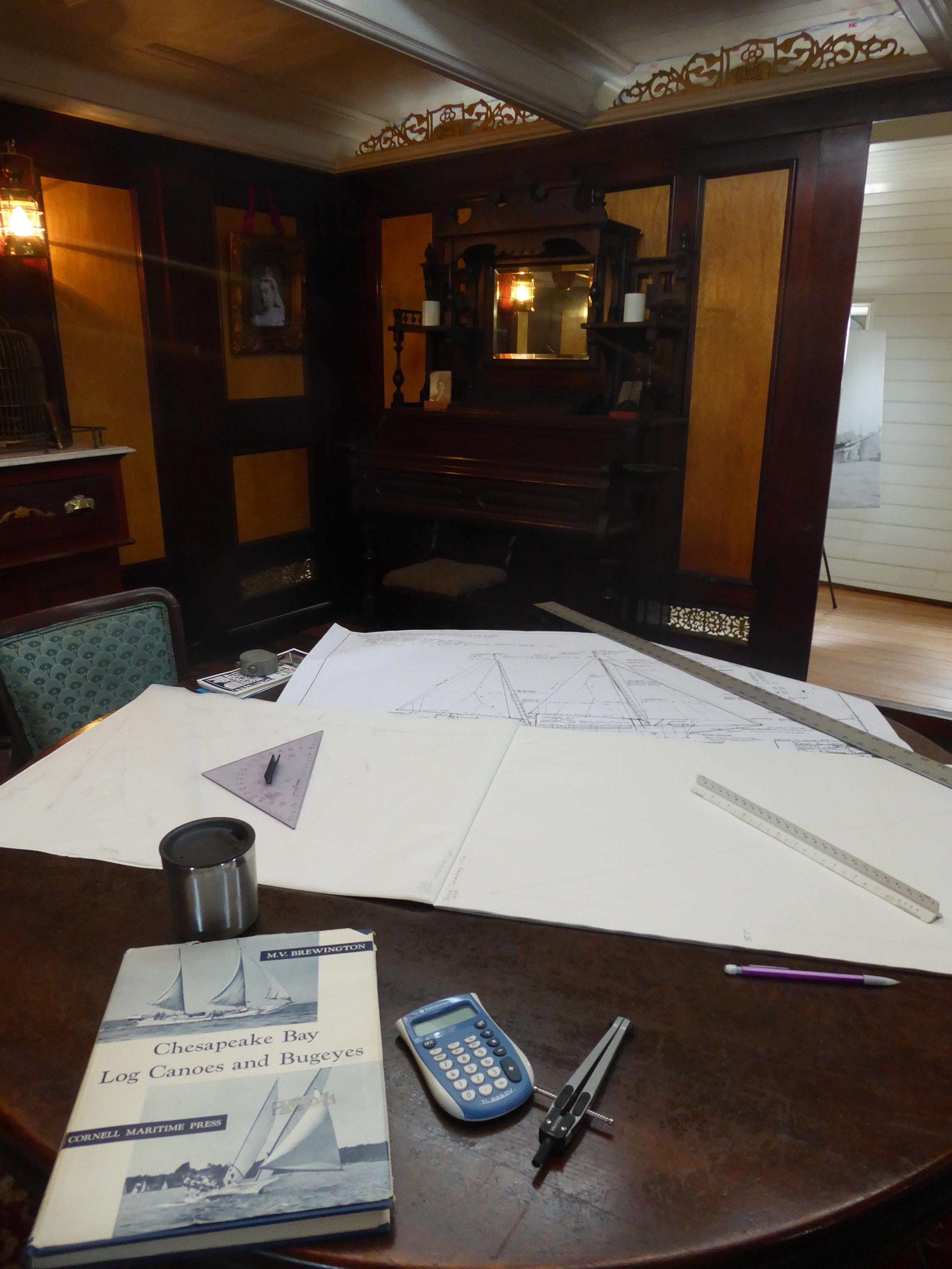 """From Traditional Rigging Co., the maker of Edna Lockwood's new sails:  """"While staying aboard 1885 ship Wavertree of South Street Seaport Museum, I designed and drew the cut sheets for Edna Lockwood. The cut sheets are what we work from when making the sails."""""""