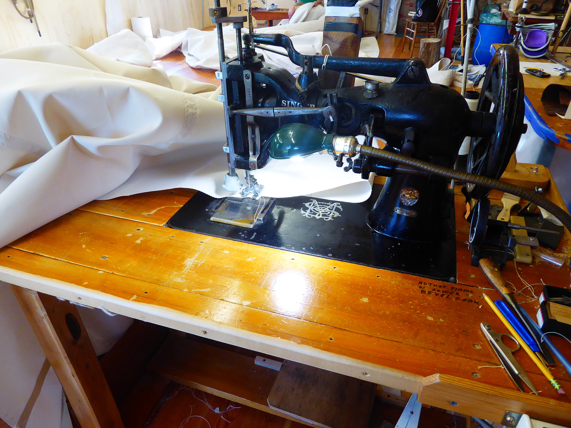 The sails were seamed on a Singer 47K which allows us to use heavy thread