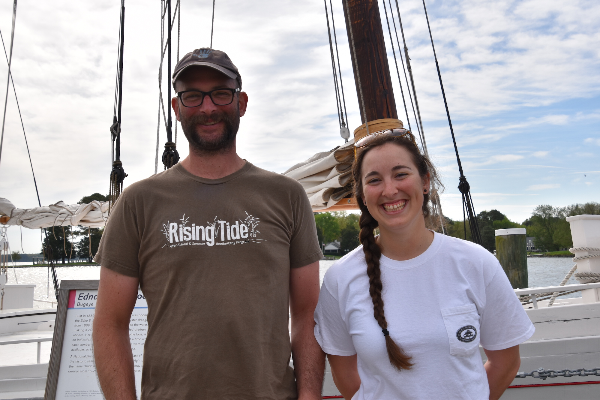 Matt Engel, lead educator, and Rose DiMatteo, tour captain and coordinator, will be taking 1889 bugeye  Edna E. Lockwood  around the Bay this summer on her National Park Service-funded heritage tour.