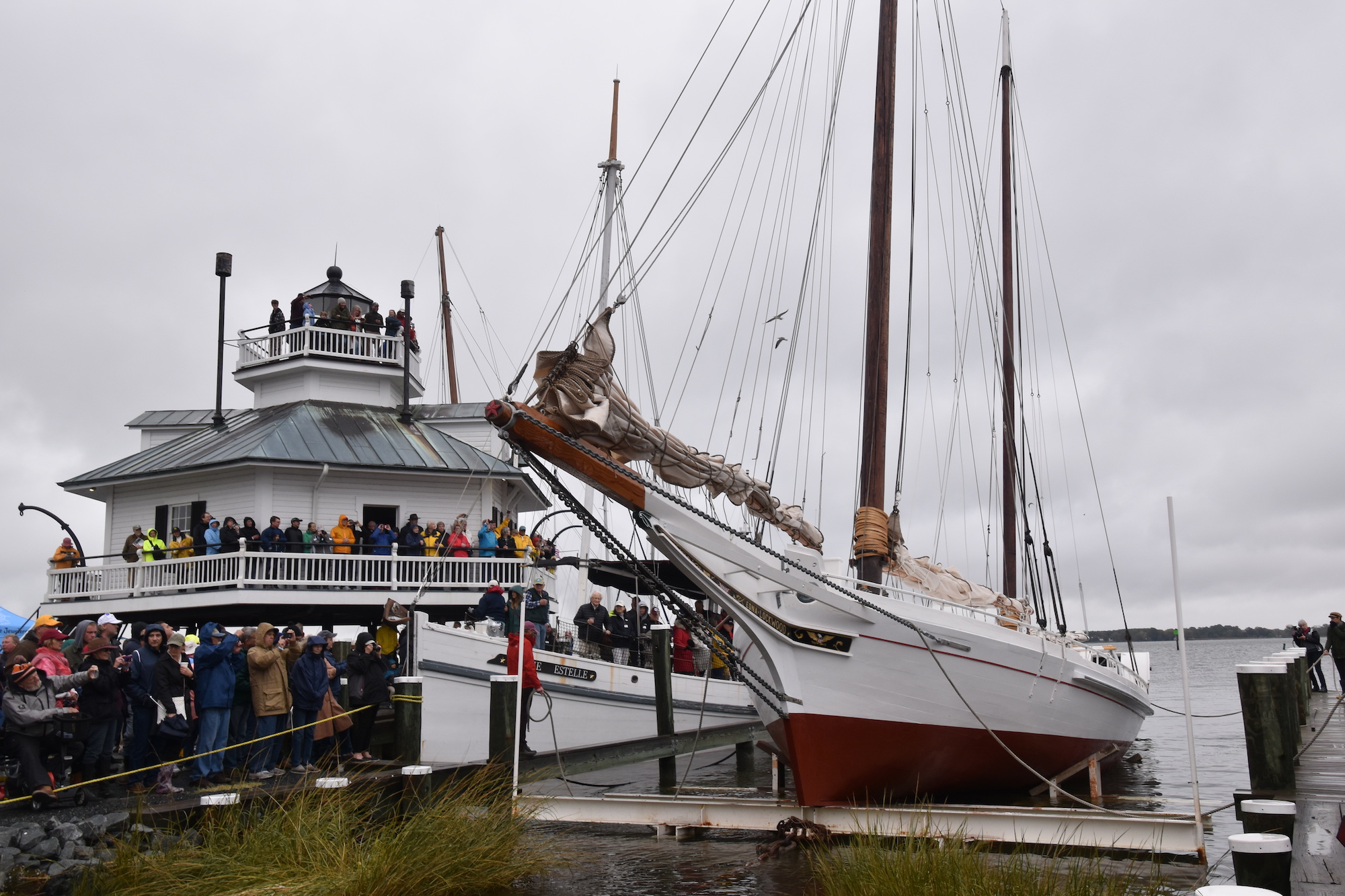 Edna Lockwood  is relaunched into the Miles River on Oct. 27, 2018, in front of a crowd at the Chesapeake Bay Maritime Museum. The National Historic Landmark underwent a two-year restoration of her nine-log hull from 2016–2018, and will be traveling to numerous ports of call this summer on heritage tour dedicated to educating the public about traditional Bay boatbuilding techniques and the oystering industry past and present.