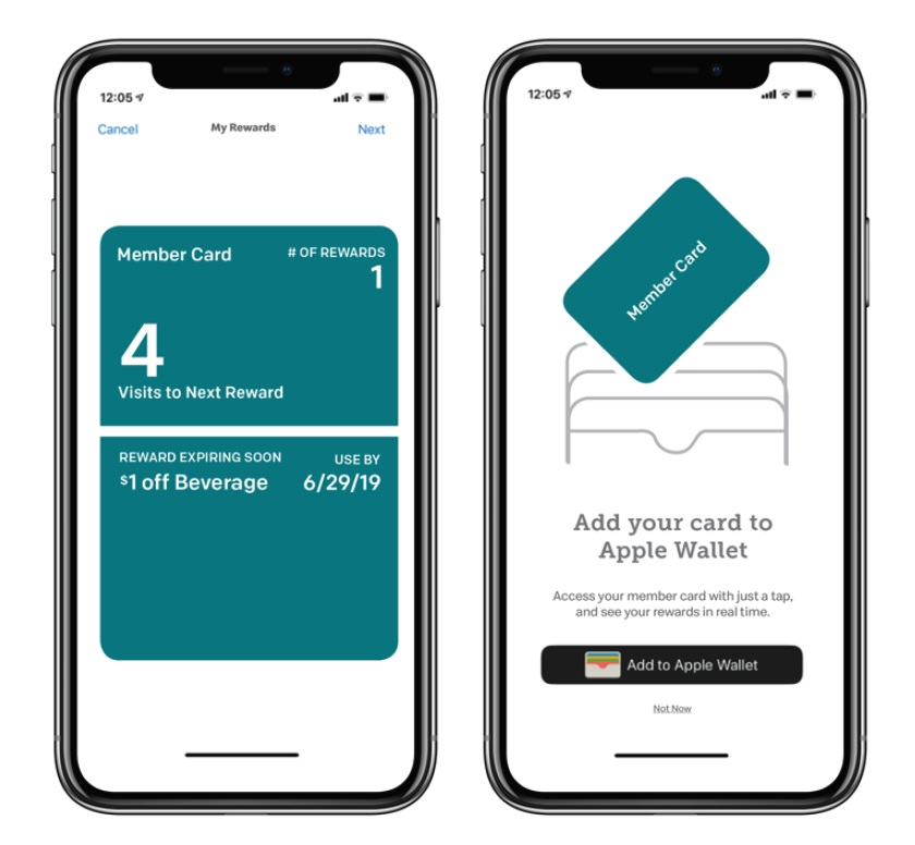 MOBILE WALLET - Special offers will be added to wallet and automatically retrieved when customer taps the RadPoint Reader.