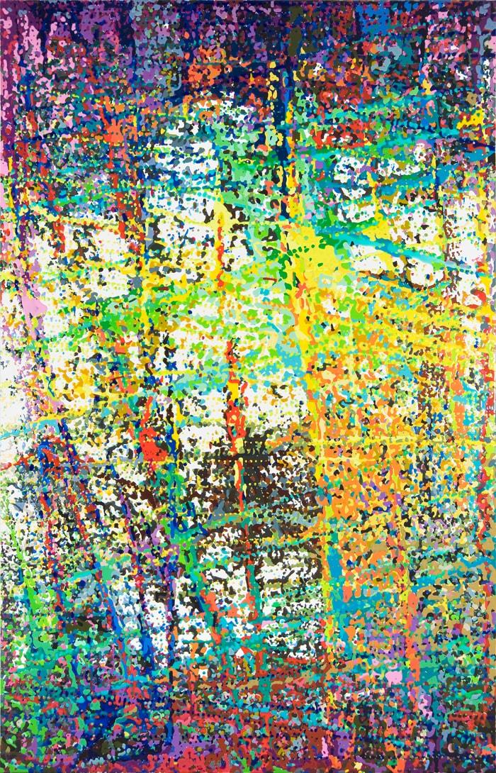 "Wire,  Epoxy Resin on Canvas, 98""H x 63""W"