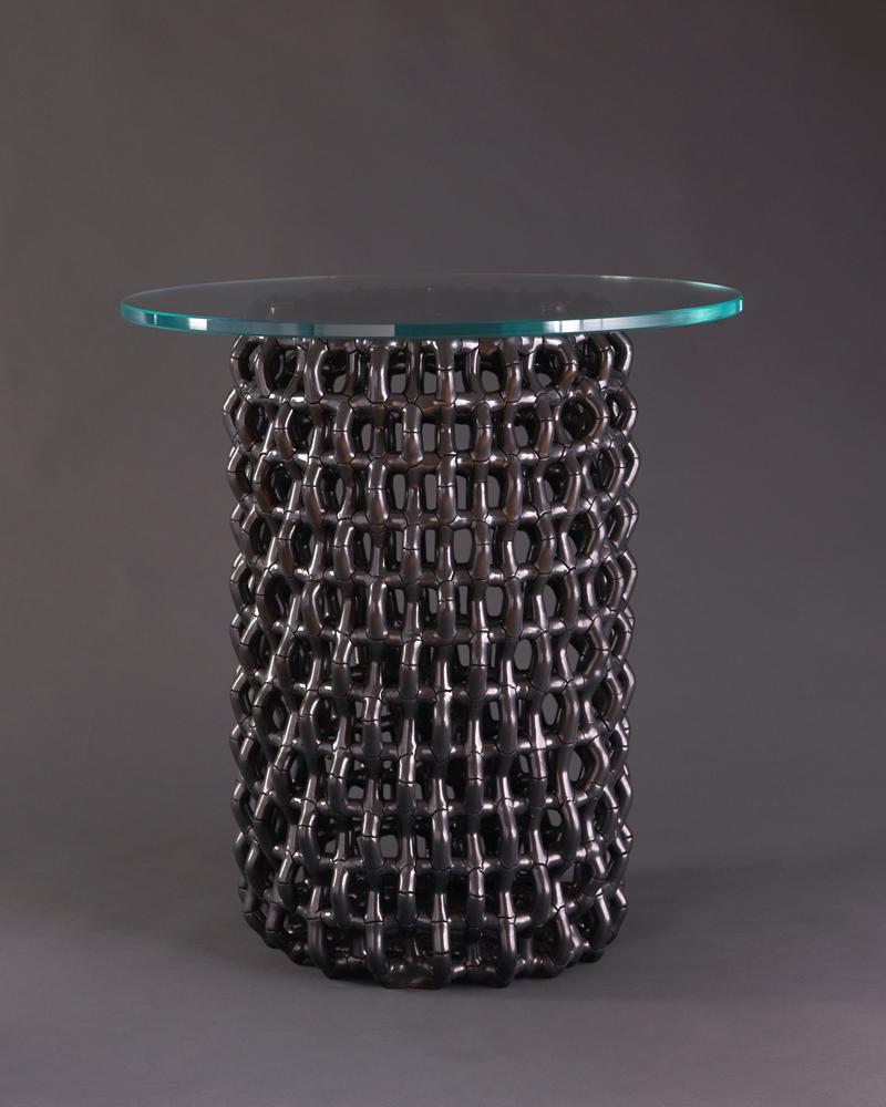 "Rhombus Table,  Ceramic (Cmesh) w/ Black Metallic Finish, 13"" Dia. x 20""H"