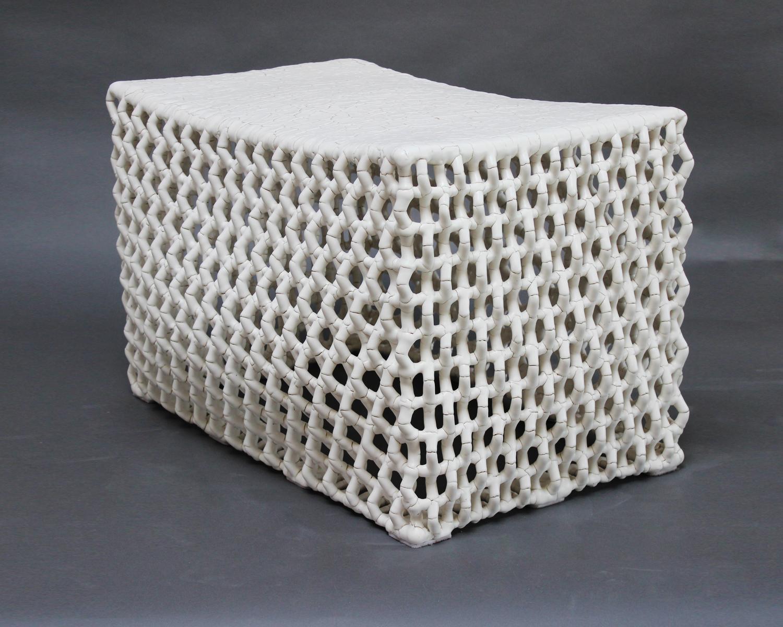 "Rhombus Table,  Ceramic and Metal, 34""W x 23""H x 22""D"