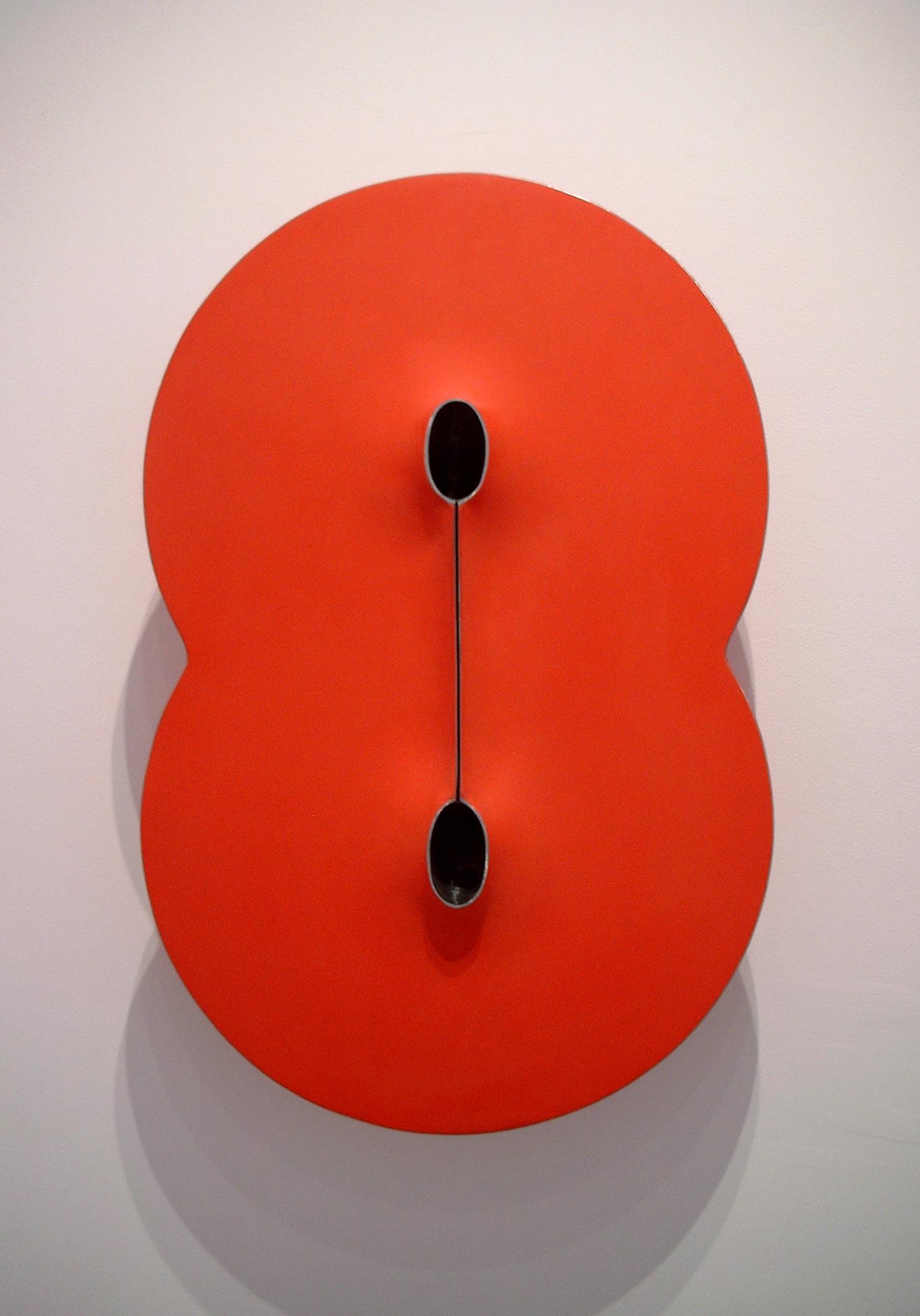 """Red Bindu,  Painted Steel, 32""""H x 20""""W x 9""""D"""