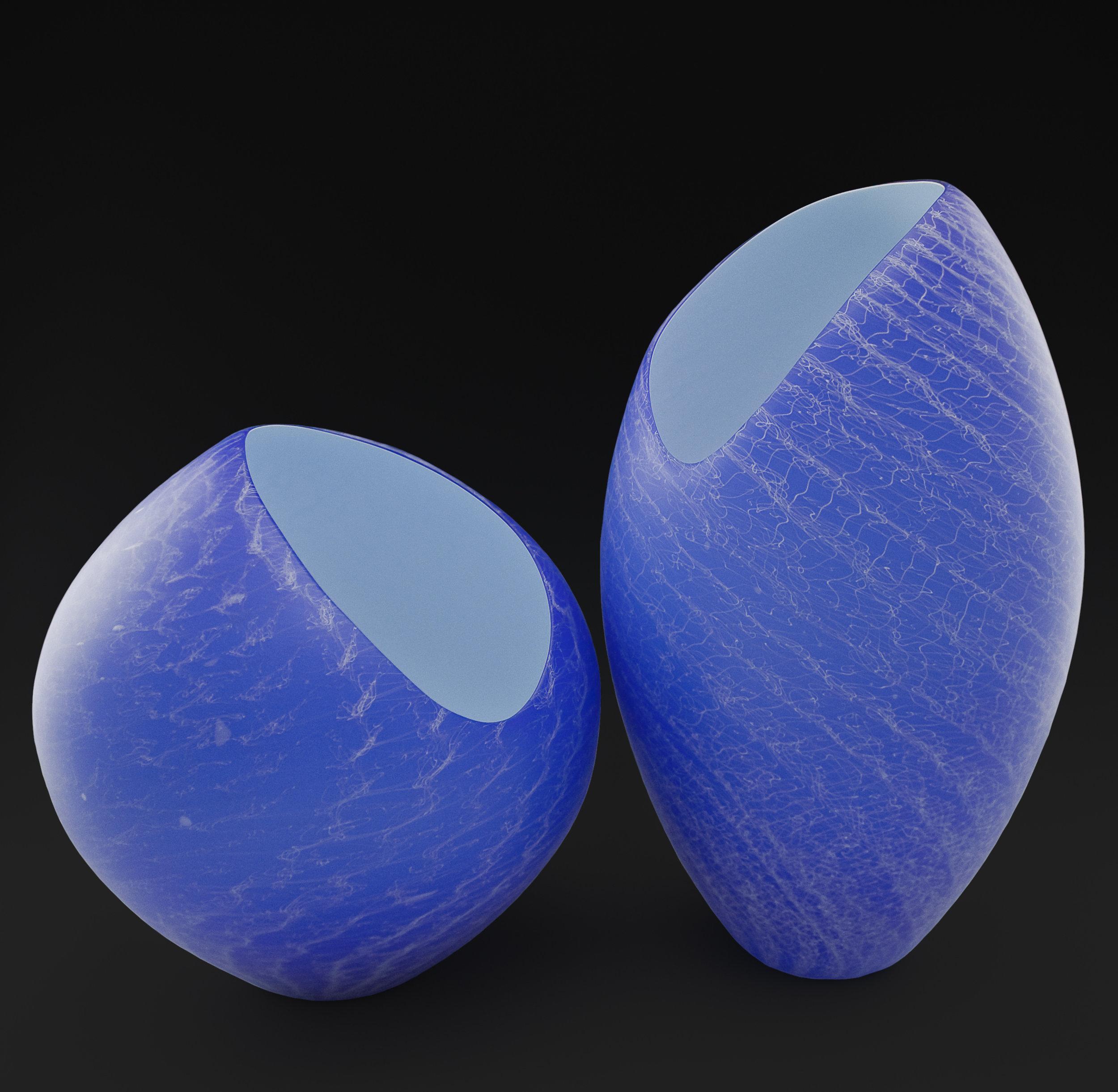 """Blue Merlettos,  Blown Glass, Blue Merletto I - 13""""H x 11""""D, Blue Merletto II - 17""""H x 8""""D"""