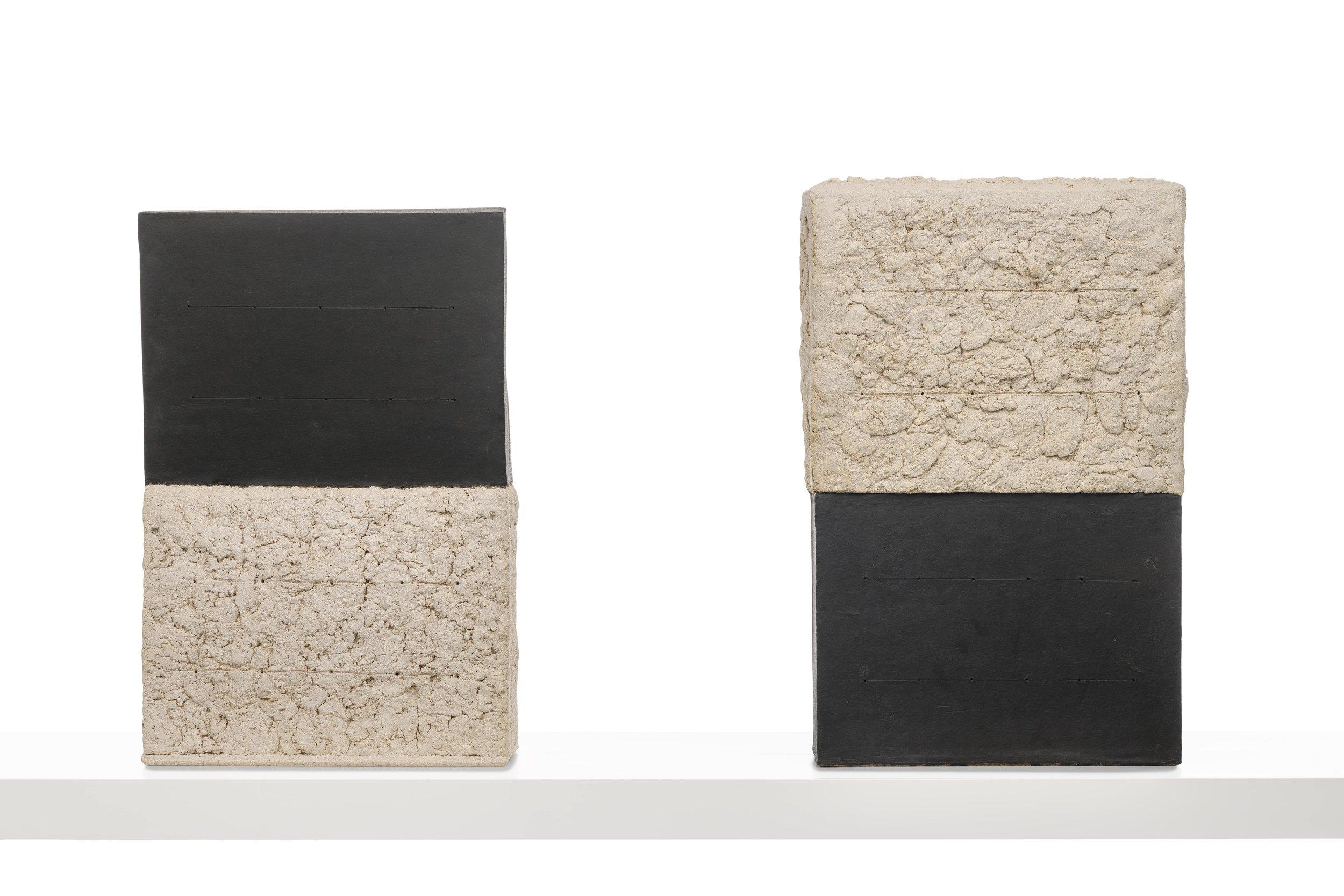 "Black and White and White and Black Sculpture,    Glazed Ceramic Stoneware. 22 x 14 x 5"""