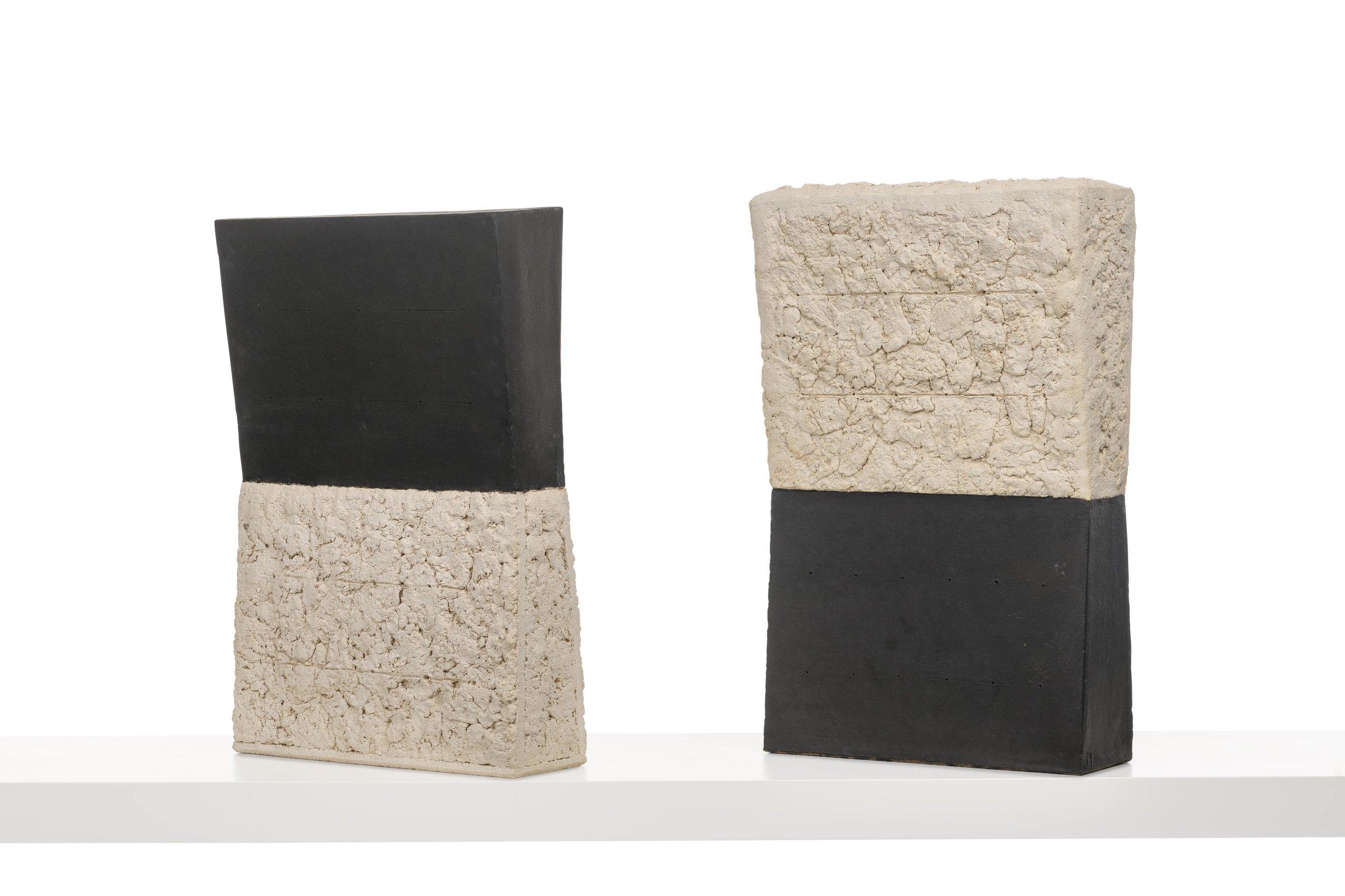 "Black and White and White and Black Sculpture.  Glazed Ceramic Stoneware, 22 x 14 x 5"""