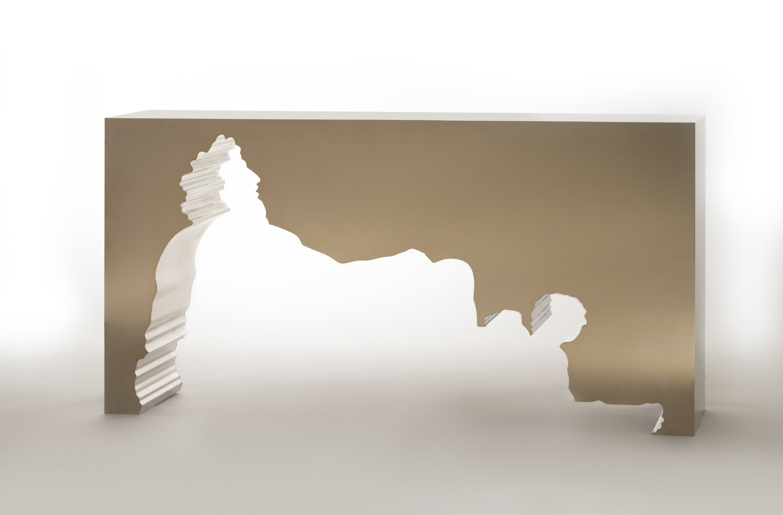 Silhouette de la Garonne , 2014, Gold Mirror Polished Stainless Steel & Solid Mirror Polished Aluminum, 37 × 72 × 15 1/2 in