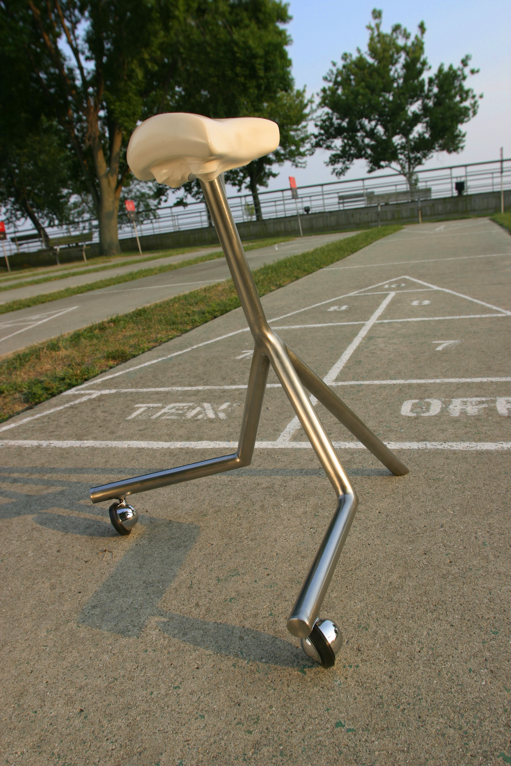 "Bicycle Stool Series - Tri-pod,  Porcelain and Stainless Steel, 23"" x 20"" x 20"""