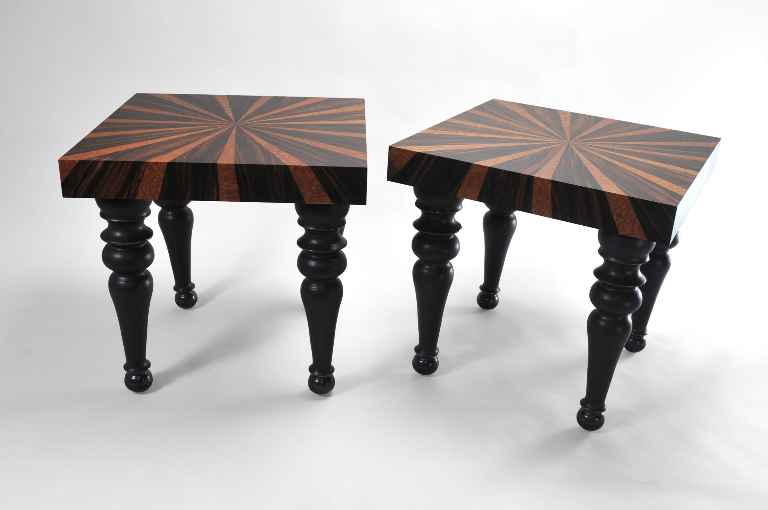 "Starburst Tables - Pair.   Collaboration with ceramicist Jordan Smith.  Macassar Ebony, Lacewood and Slip-Cast Porcelain Legs  22.5""H x 23""W x 23""D"