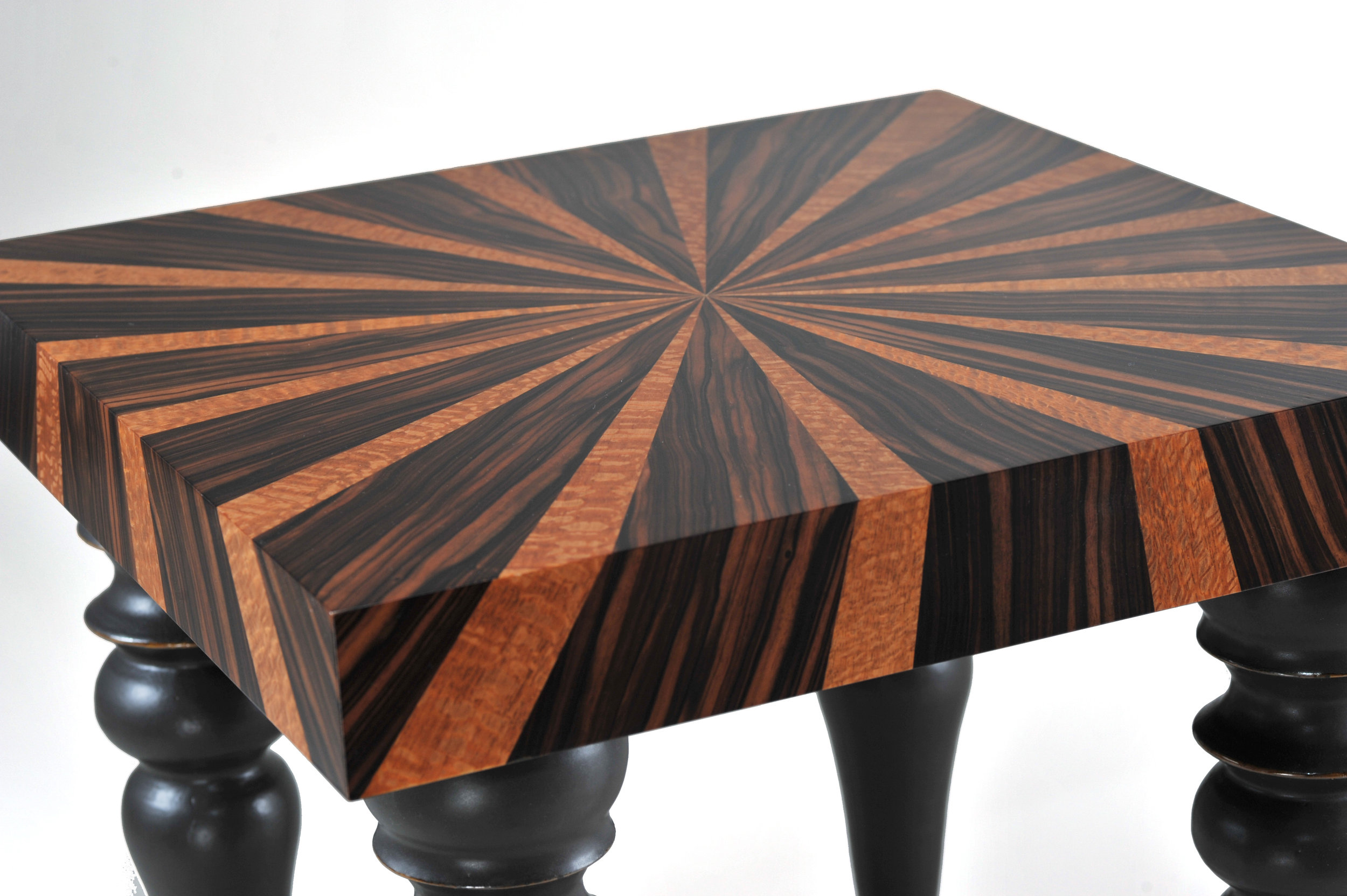 "Starburst Tables - Perspective Detail .  Collaboration with ceramicist Jordan Smith. Macassar Ebony, Lacewood and Slip-Cast Porcelain Legs  22.5""H x 23""W x 23""D"