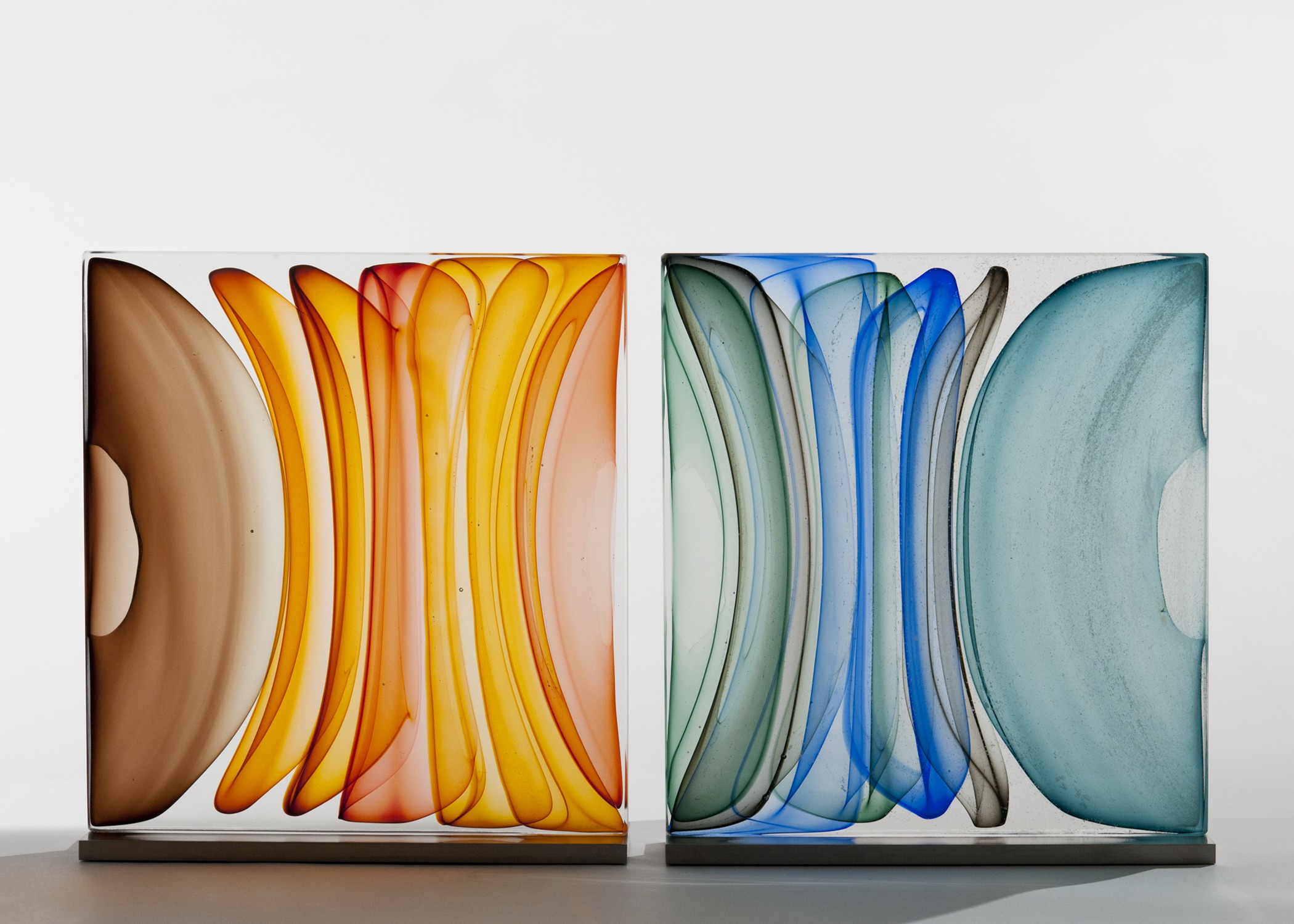 """Diptych Infusion Block in Brown Ambers and Blues , Blown and Solid-Worked, Kiln-Cast, Cold-Worked Glass 30""""W x 15""""H"""