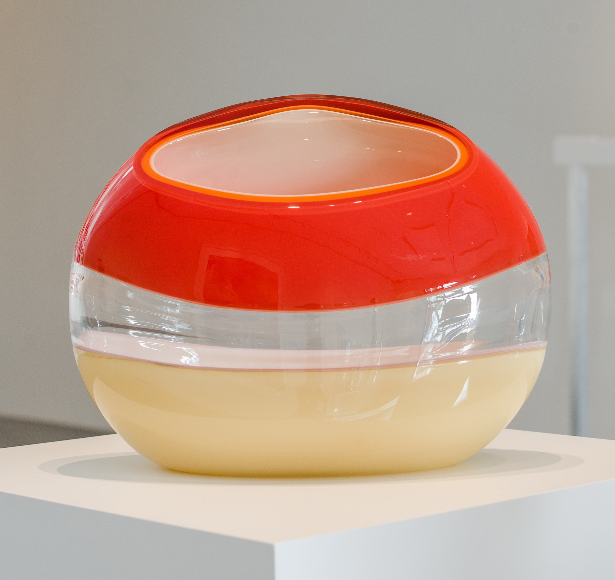 """Ember Incalmo Orb in Red, Orange and Ivory,  Blown and Carved Glass 14""""H x 18.5""""W x 8""""D"""