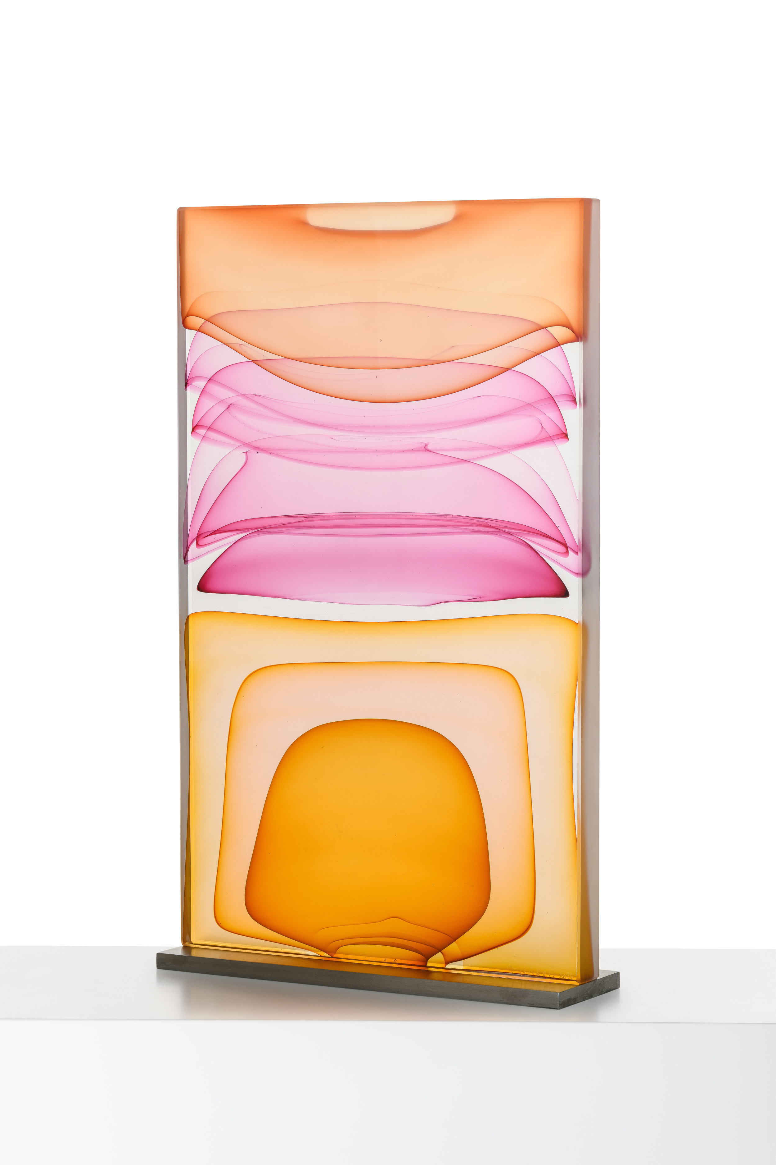 """Infusion Block in Amber, Rose and Orange,  Blown and Solid-Worked, Kiln-Cast, Cold-Worked Glass, 23""""H x 13""""W x 4""""D"""