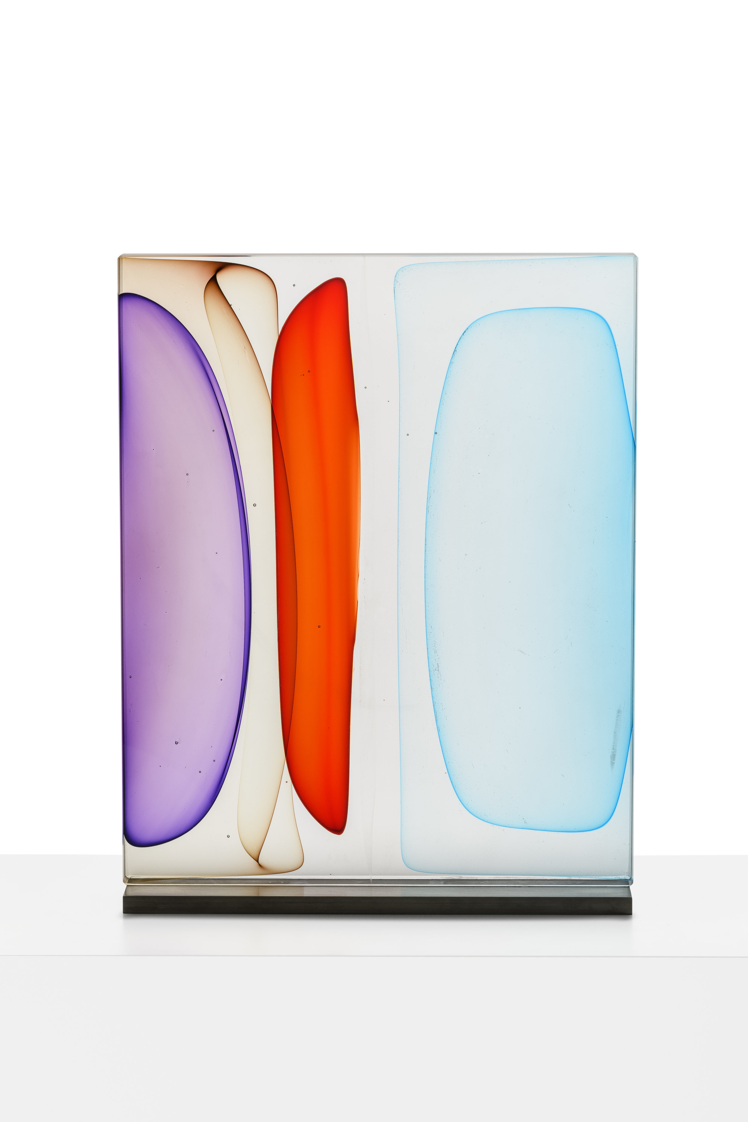 """Infusion Block in Purple, Brown, Red and Blues,  Blown and Solid-Worked, Kiln-Cast, Cold-Worked Glass, 16""""H x 14""""W x 4""""D"""