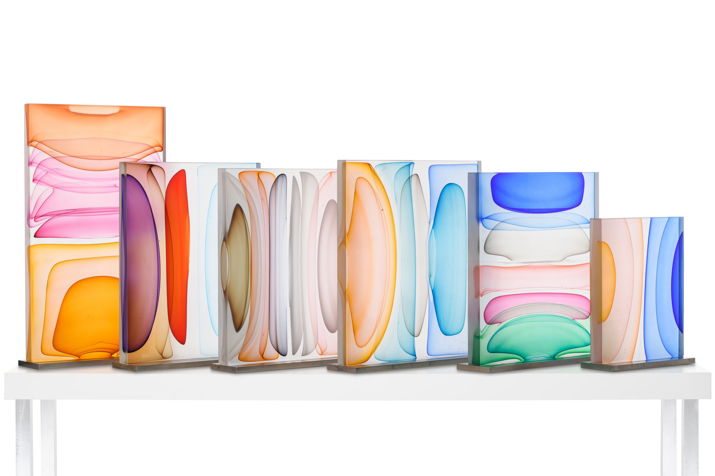 Jamie Harris, Infusion Blocks,  Blown and Solid-Worked, Kiln-Cast, Cold-Worked Glass, Various Sizes