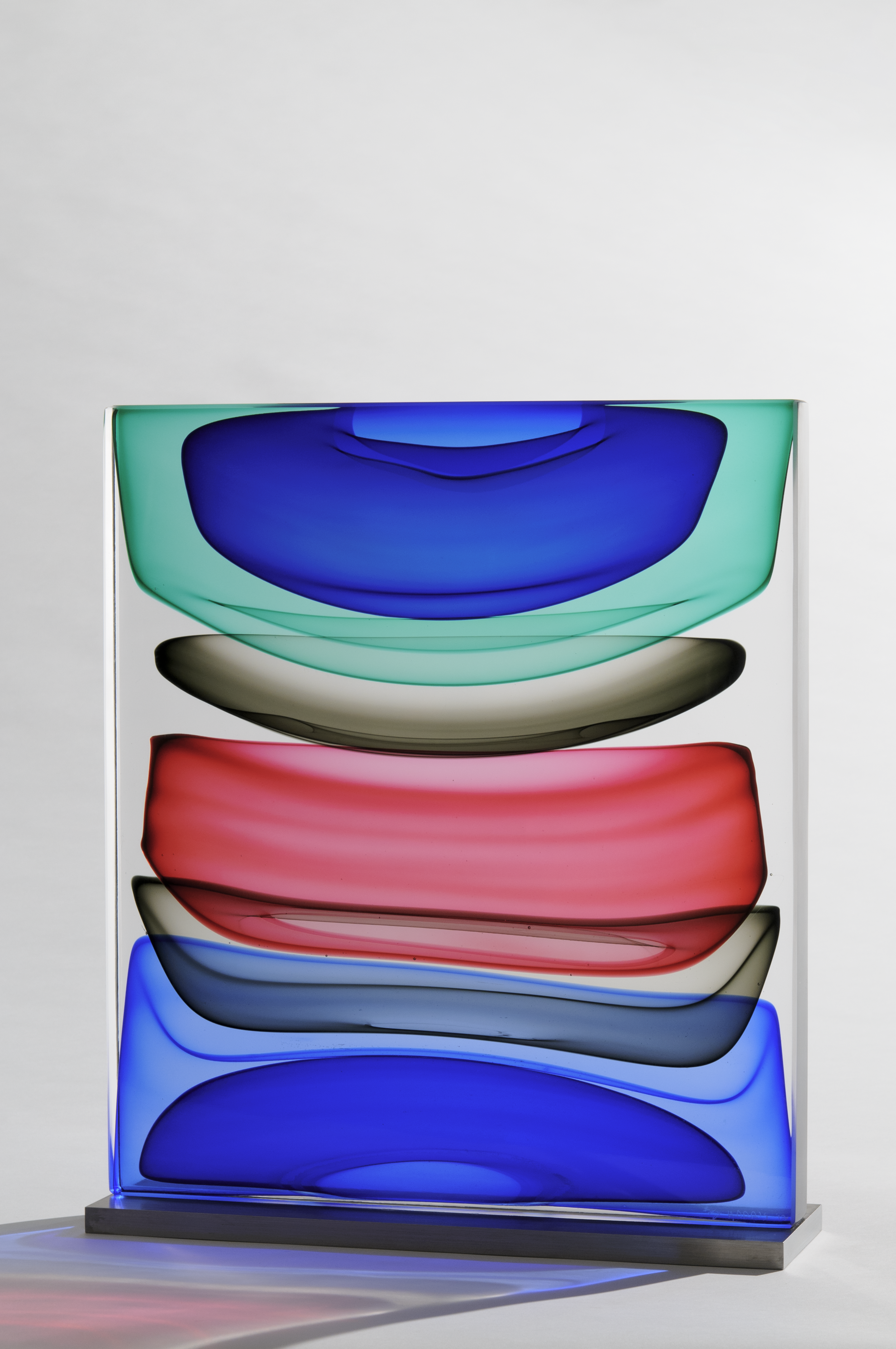 """Infusion Block in Green, Blues, Grey and Ruby,   Blown and Solid-Worked, Kiln-Cast, Cold-Worked Glass, 12"""" x 13"""" x 4"""""""