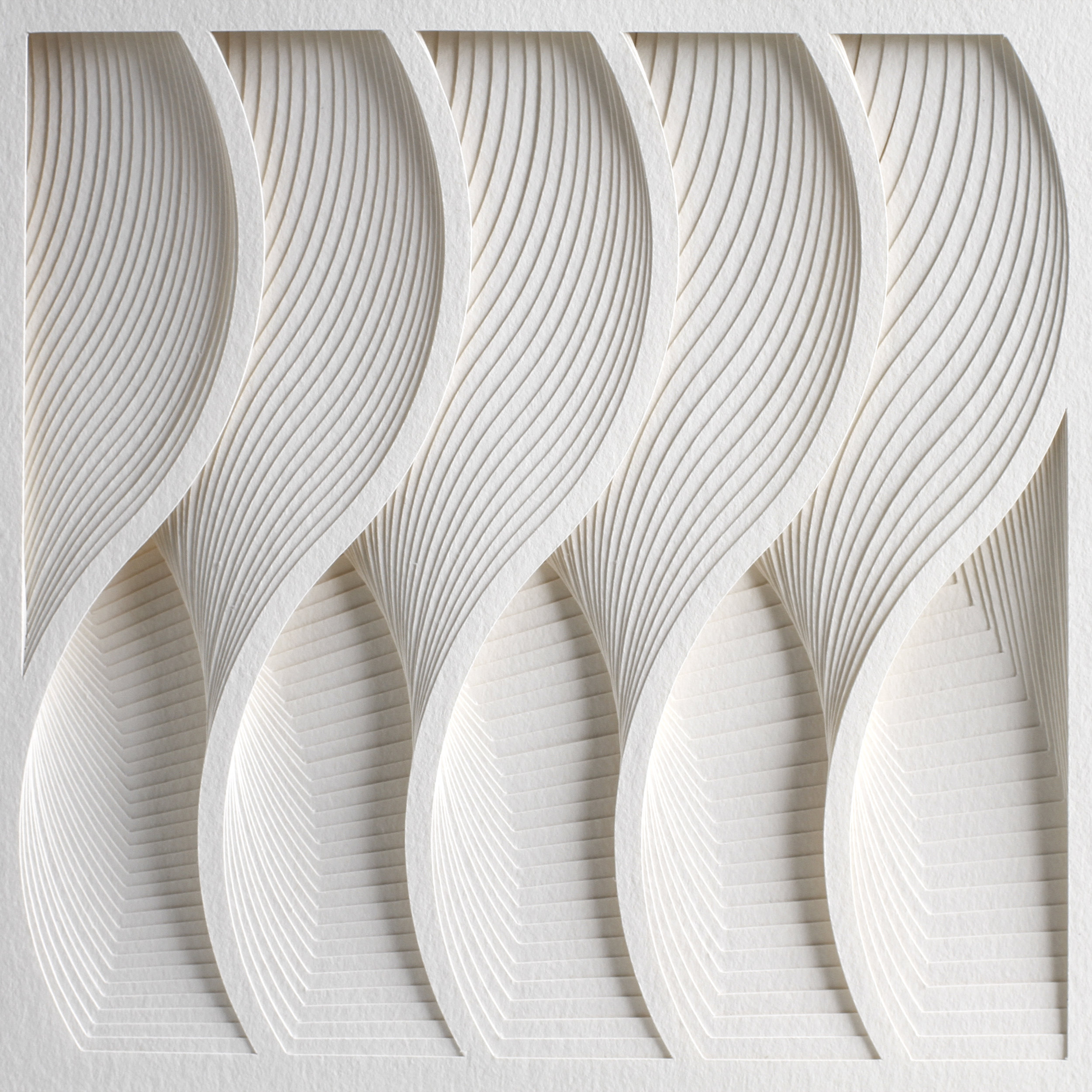 """Process Series 2 - Wave,  Cut and Folded Paper, 35""""H x 27""""W, Photo by Cullen Stephenson"""