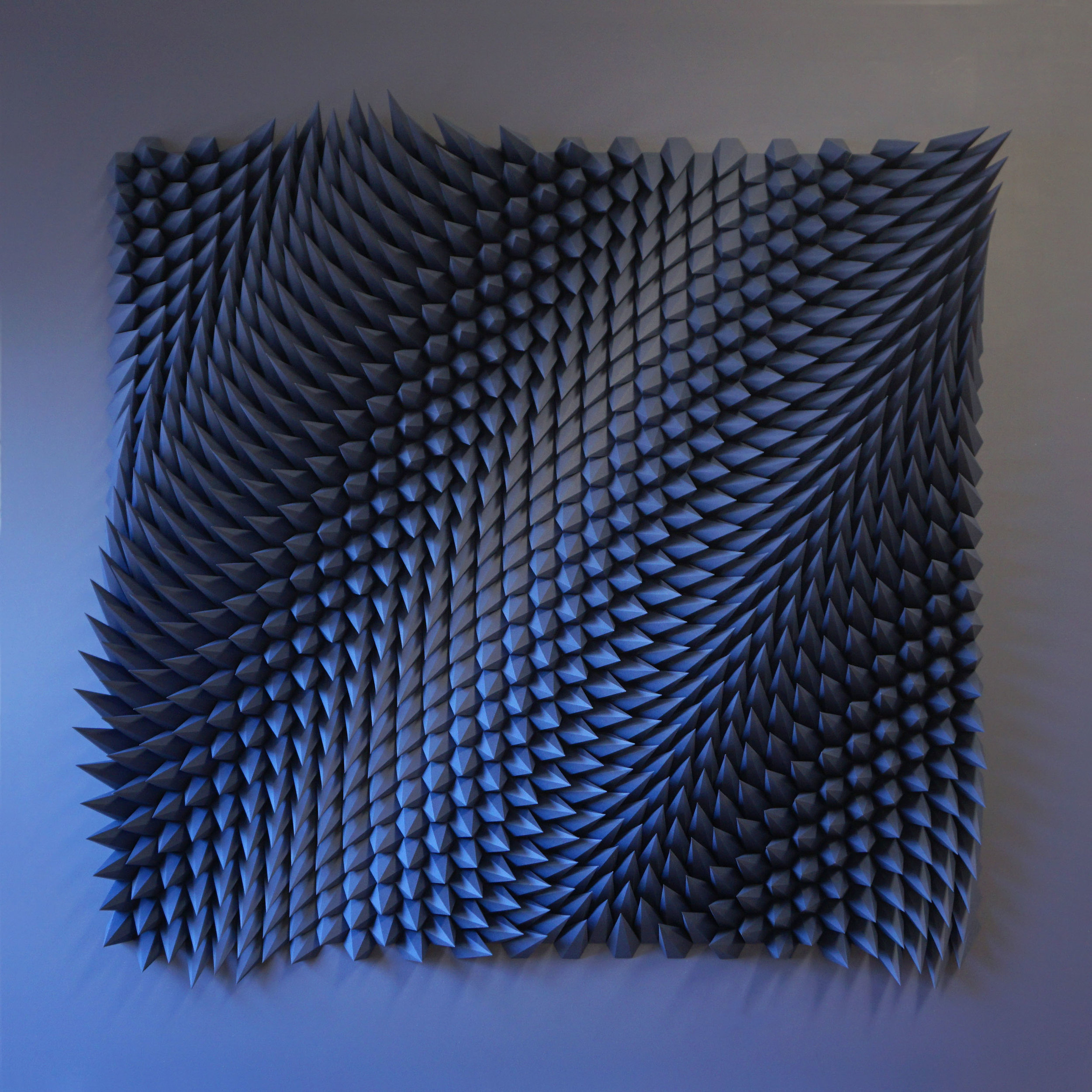 "Stagger (Indigo),  Cut and Folded Indigo Paper, 64""H x 64""W x 5""D"