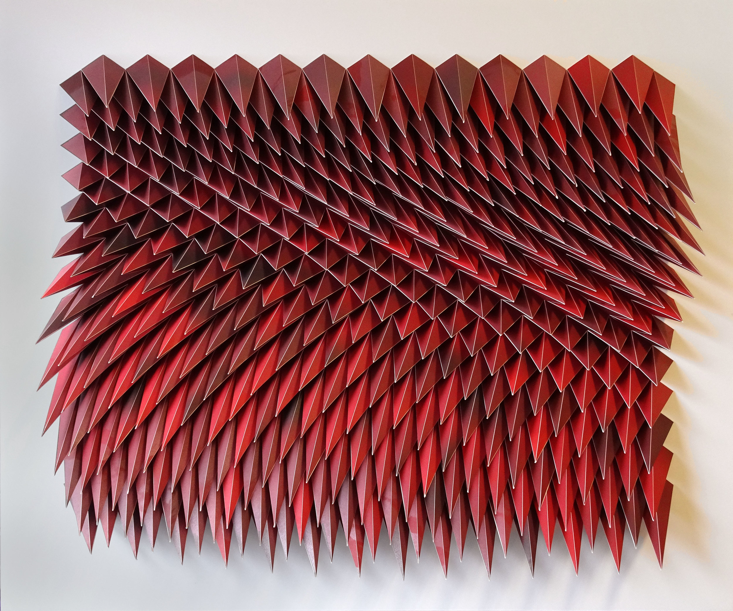 """Unholy 85 (Go Down Moses, There's Fire in the Woods),  Cut and Folded Offset Tamarind Prints in Blood Red, 40""""H x 48""""W x 5""""D"""