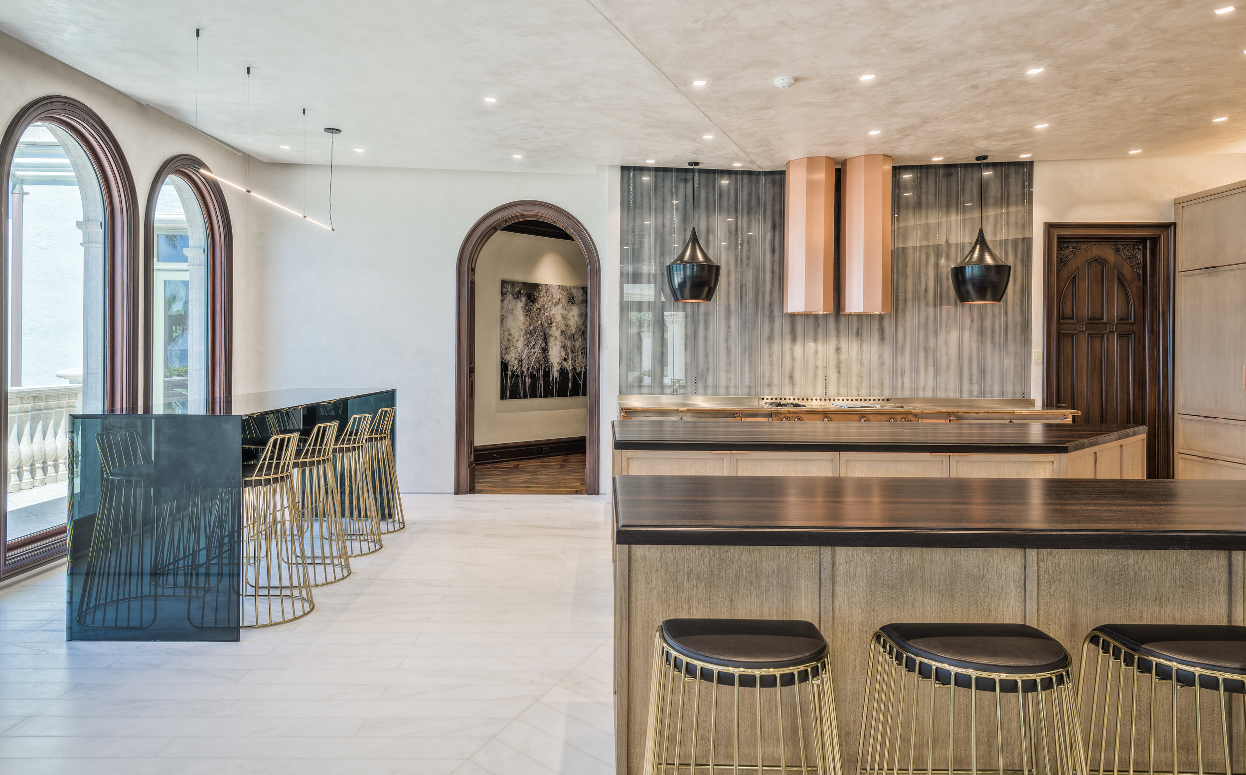 Private Beachfront Estate Bespoke kitchen Custom architectural and decorative details throughout