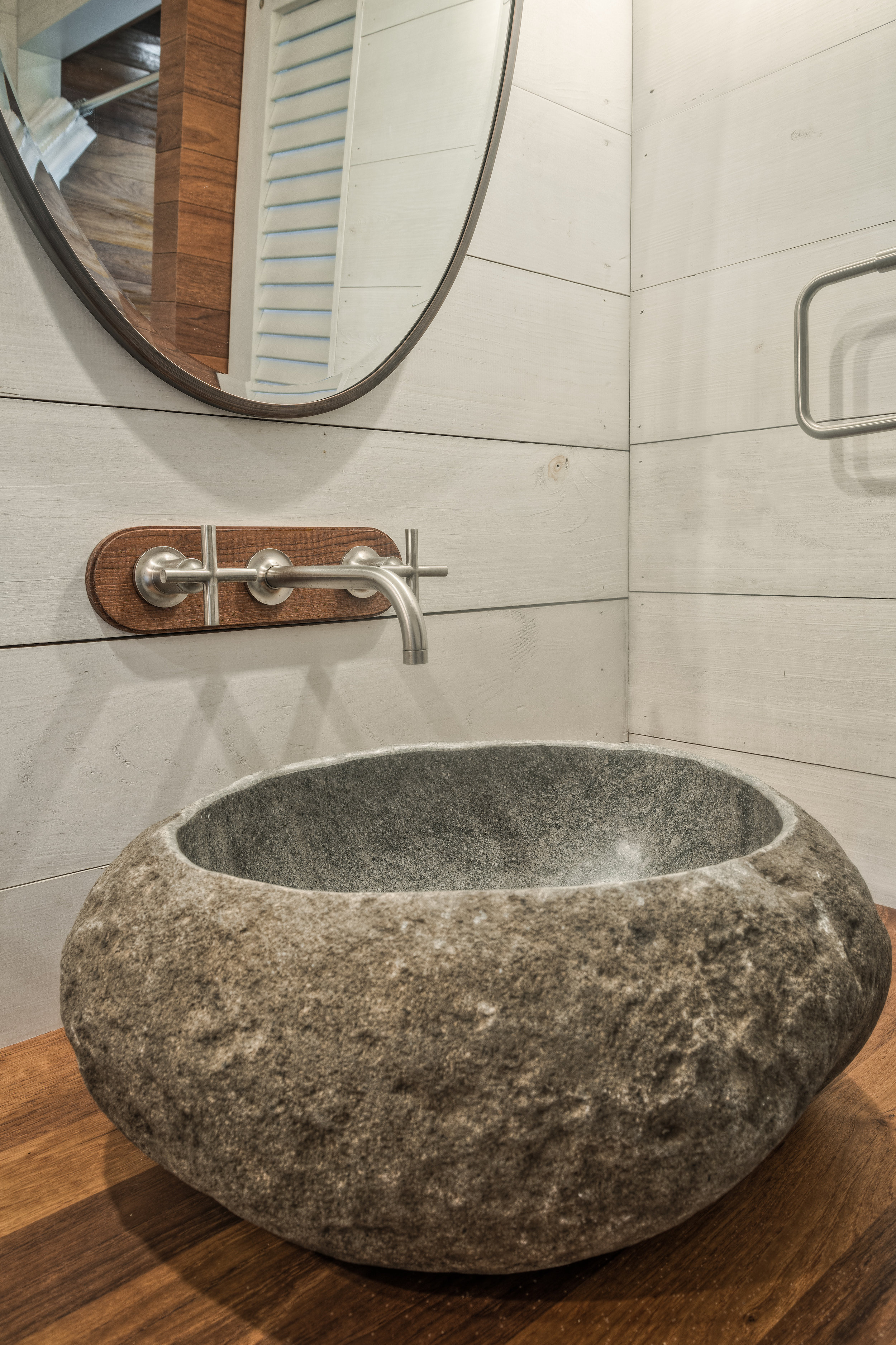 Rustic Tropical Paradise Custom commission, hand-carved stone basin