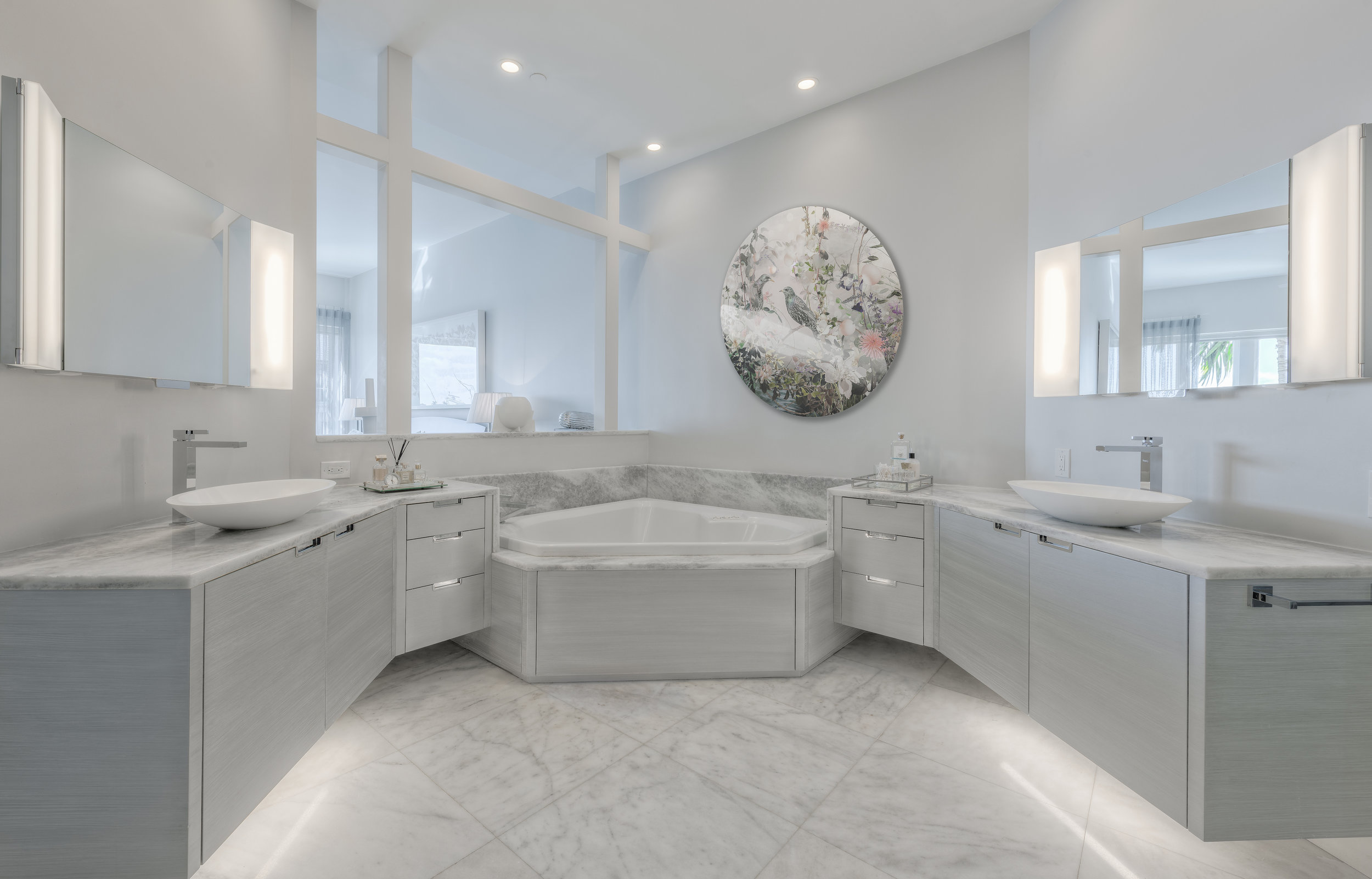 Master Suite Renovation of master suite by designer, Chad Jensen. Elegant floated cabinetry design with hand-applied striate, metallic finishes, from Thomas Riley Artisans' Guild.