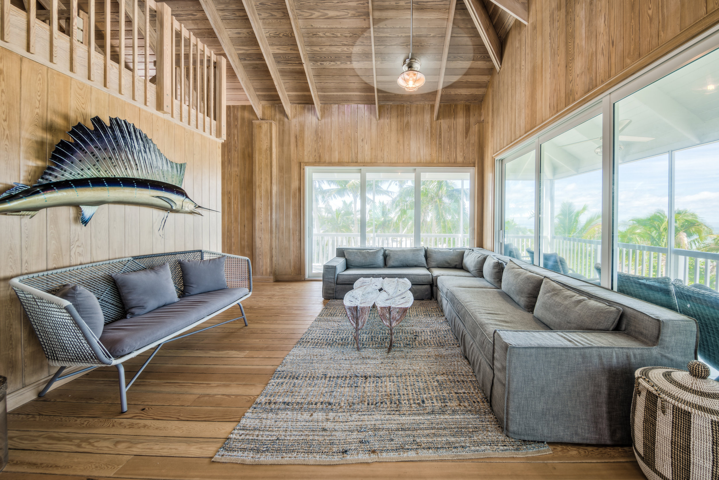 Private Island Beach House Open-concept architectural restructuring for main living area including furniture plan and artist commission table