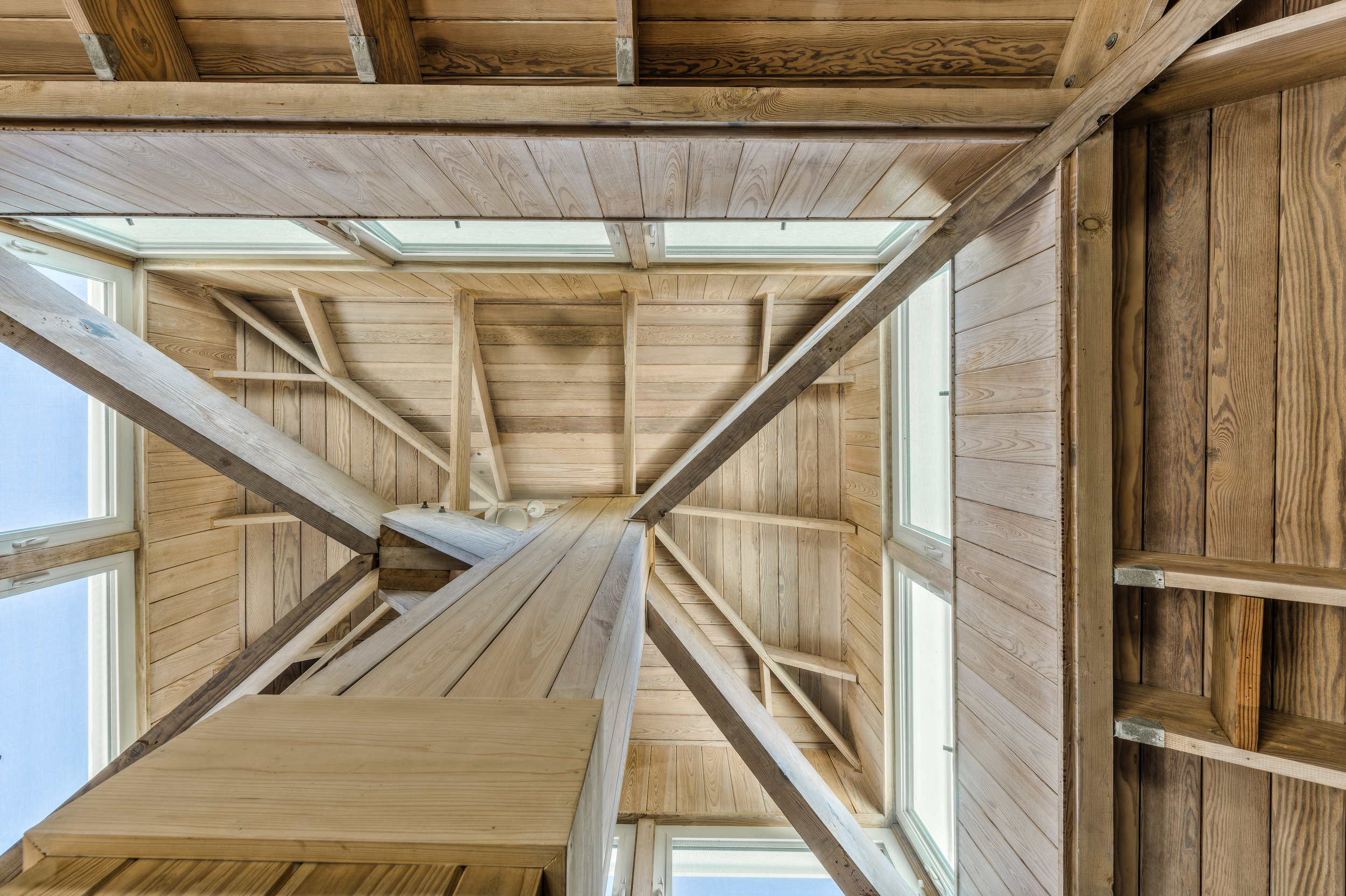 Private Island Beach House View of the architectural ceiling detail after restructuring toward open concept