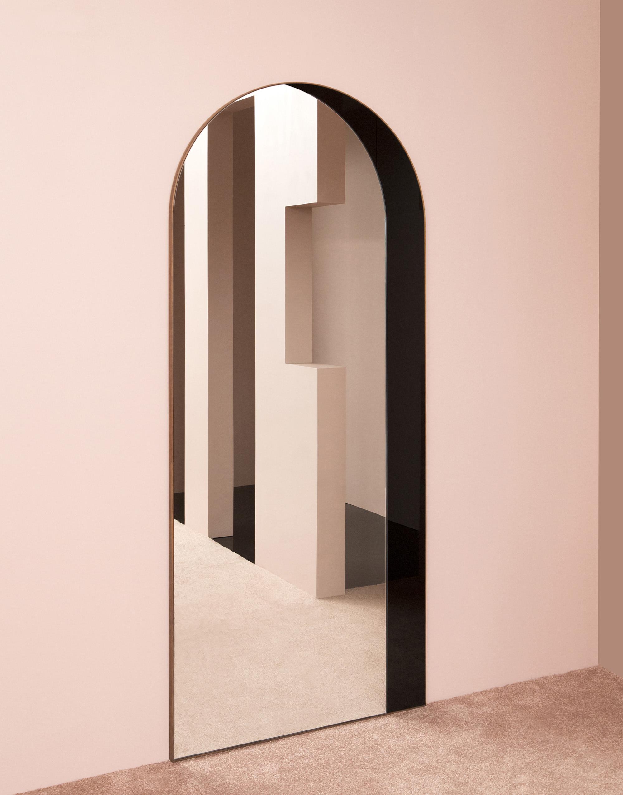 """Archway Mirror, Black and Clear Mirror, Steam Bent Walnut Frame, 84"""" x 36"""" x 1-1/4"""", Photo by Charlie Schuck"""