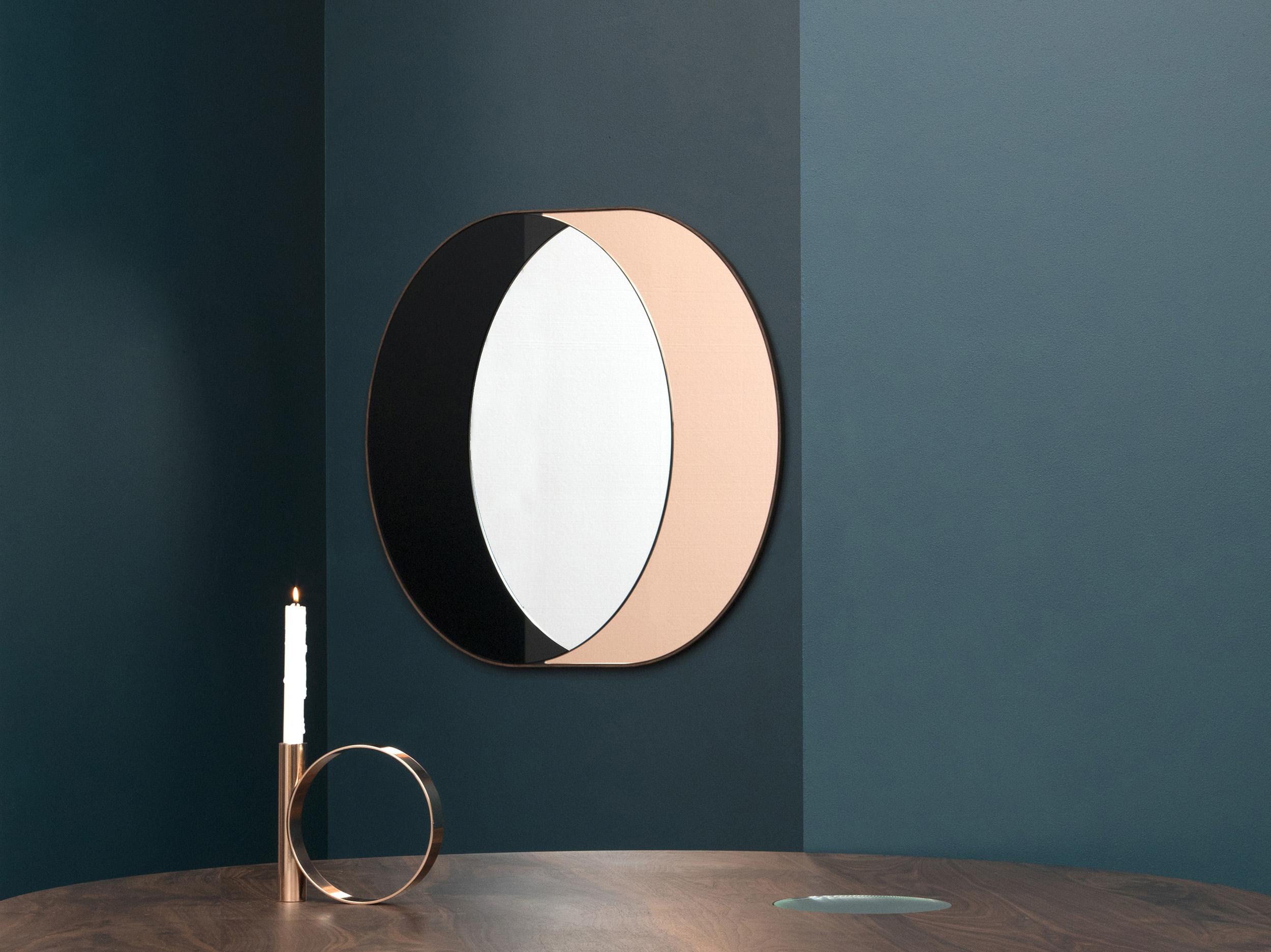 "Ring Mirror, Black, Peach and Clear Mirror, Walnut Frame, 33"" x 31"" x 1"", Photo by Charlie Schuck"