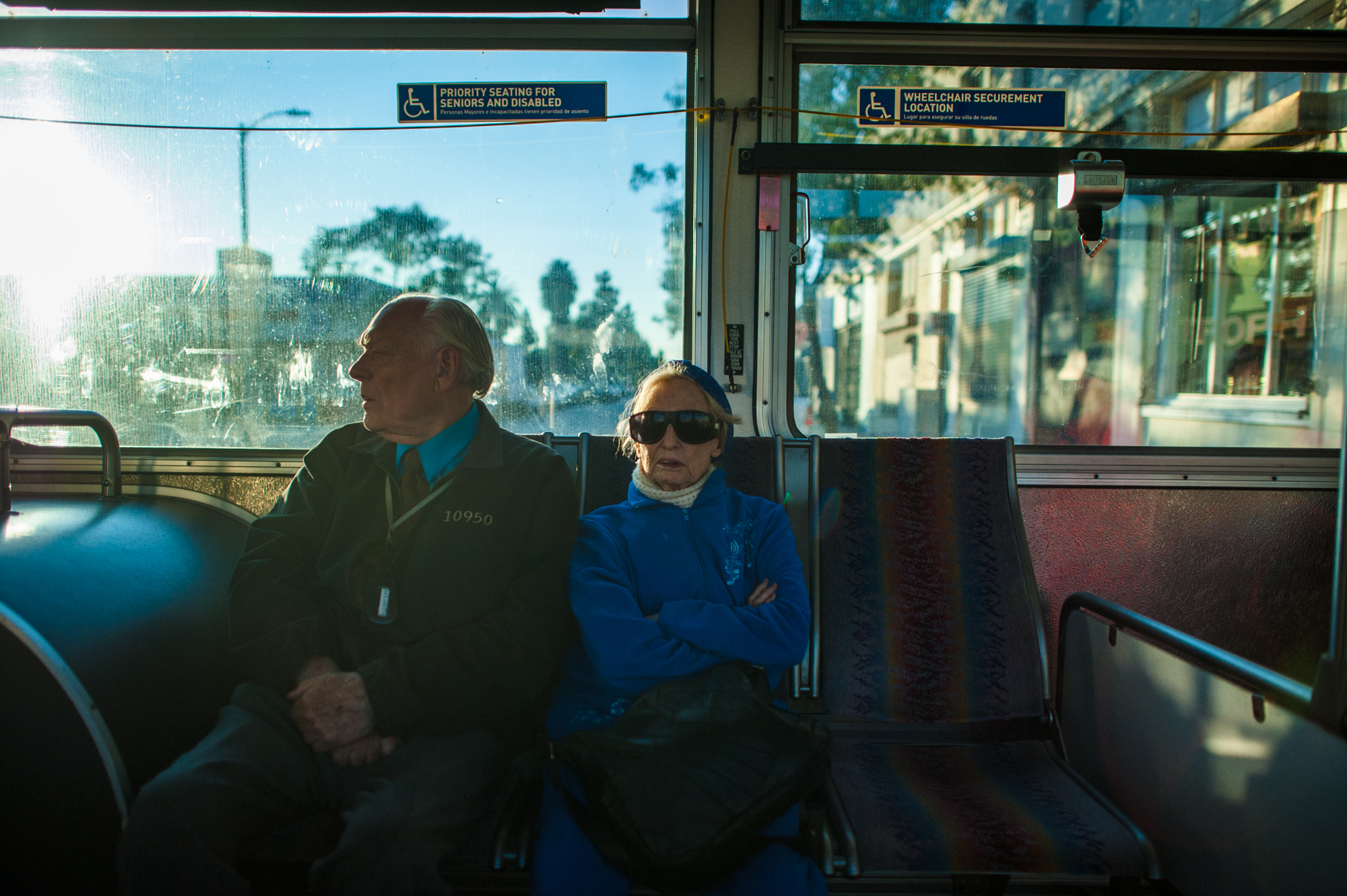 Adina and Will ride the bus in Los Angeles.