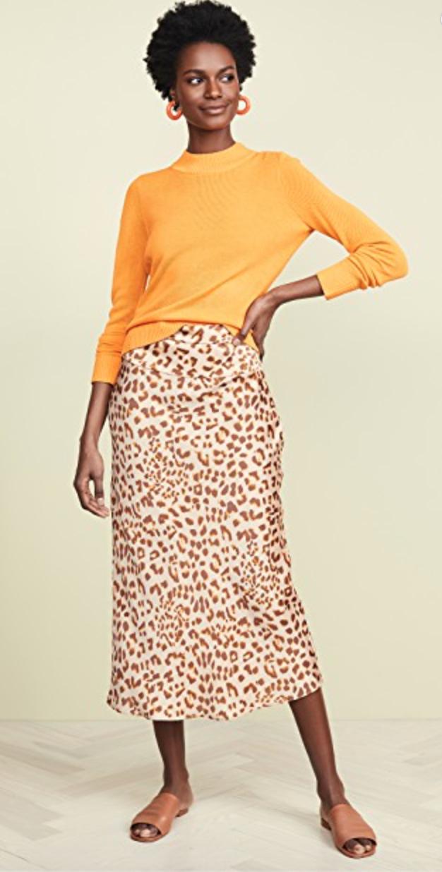 Free People Leopard Slip Skirt $98