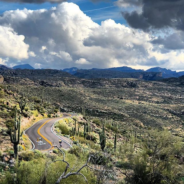 The mountain roads outside Phoenix are perfectly smooth ribbons of cycling goodness!  And a little hilly. #tortillaflat #canyonlake #phoenixcycling #cycling #roadriding