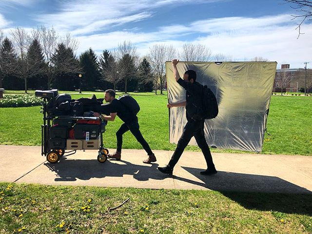 Having an awesome and very mobile crew makes everything better! Huge thanks to these guys for working their booties off for our Bridgewater College  shoot. @bridgewatercollege #onlocation #photoshoot #bts @lipman.hearne